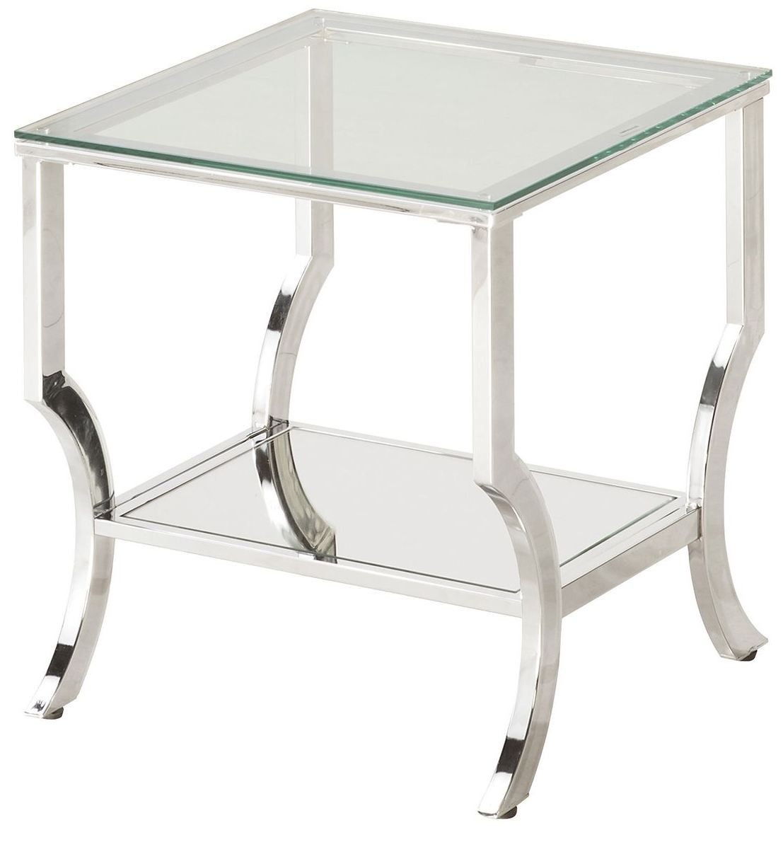 Chrome and tempered glass end table 720337 coaster furniture for Glass end tables