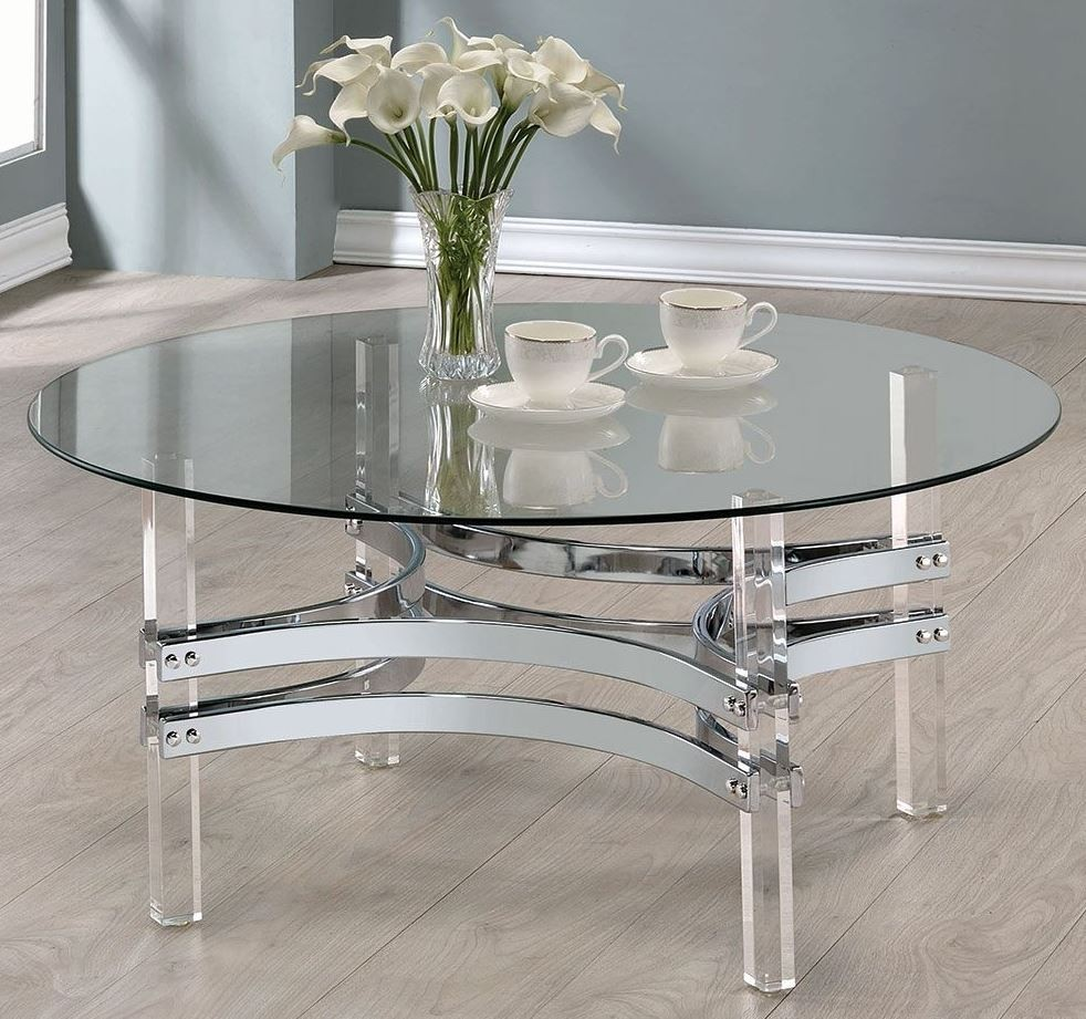 Chrome and clear acrylic round coffee table 720708 coaster furniture Clear coffee table