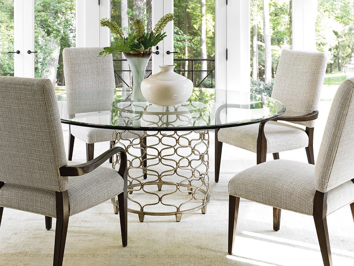 Laurel canyon round 54 silver leaf glass round dining for Round dining room sets with leaf