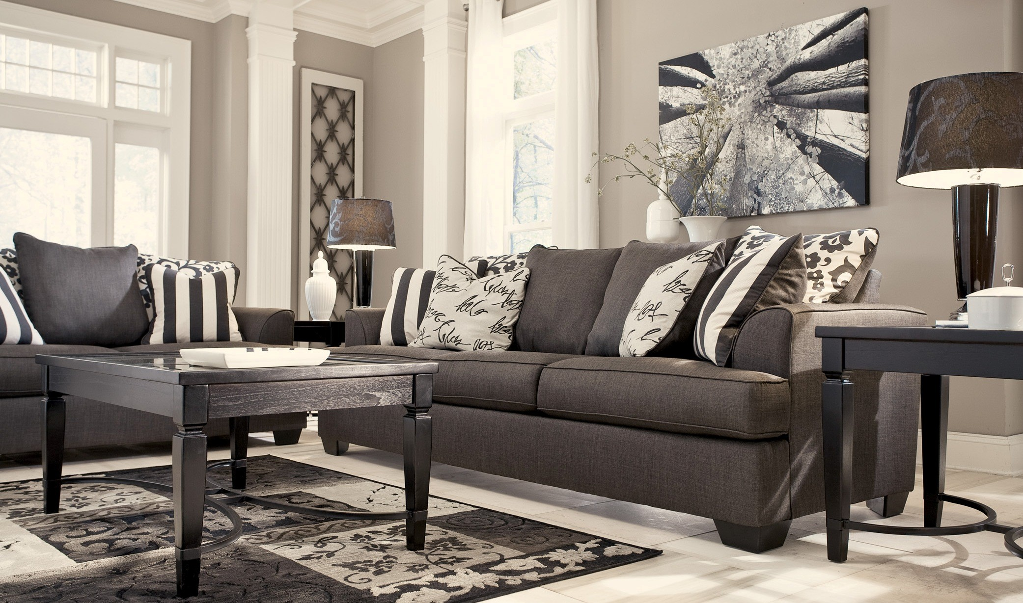 Levon charcoal living room set for Charcoal sofa living room