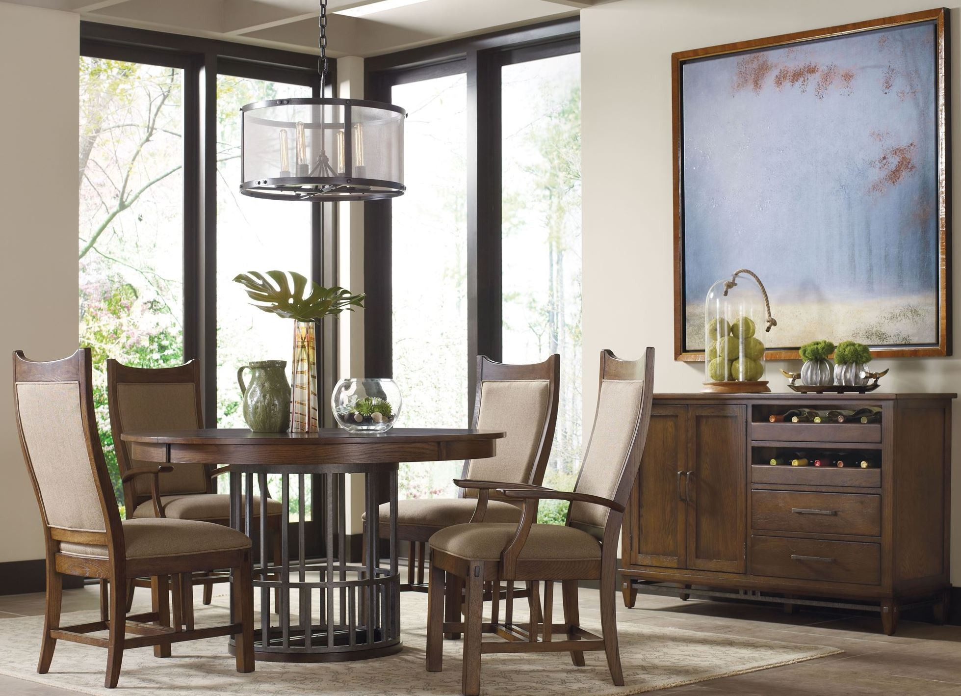 bedford park extendable round dining room set from kincaid