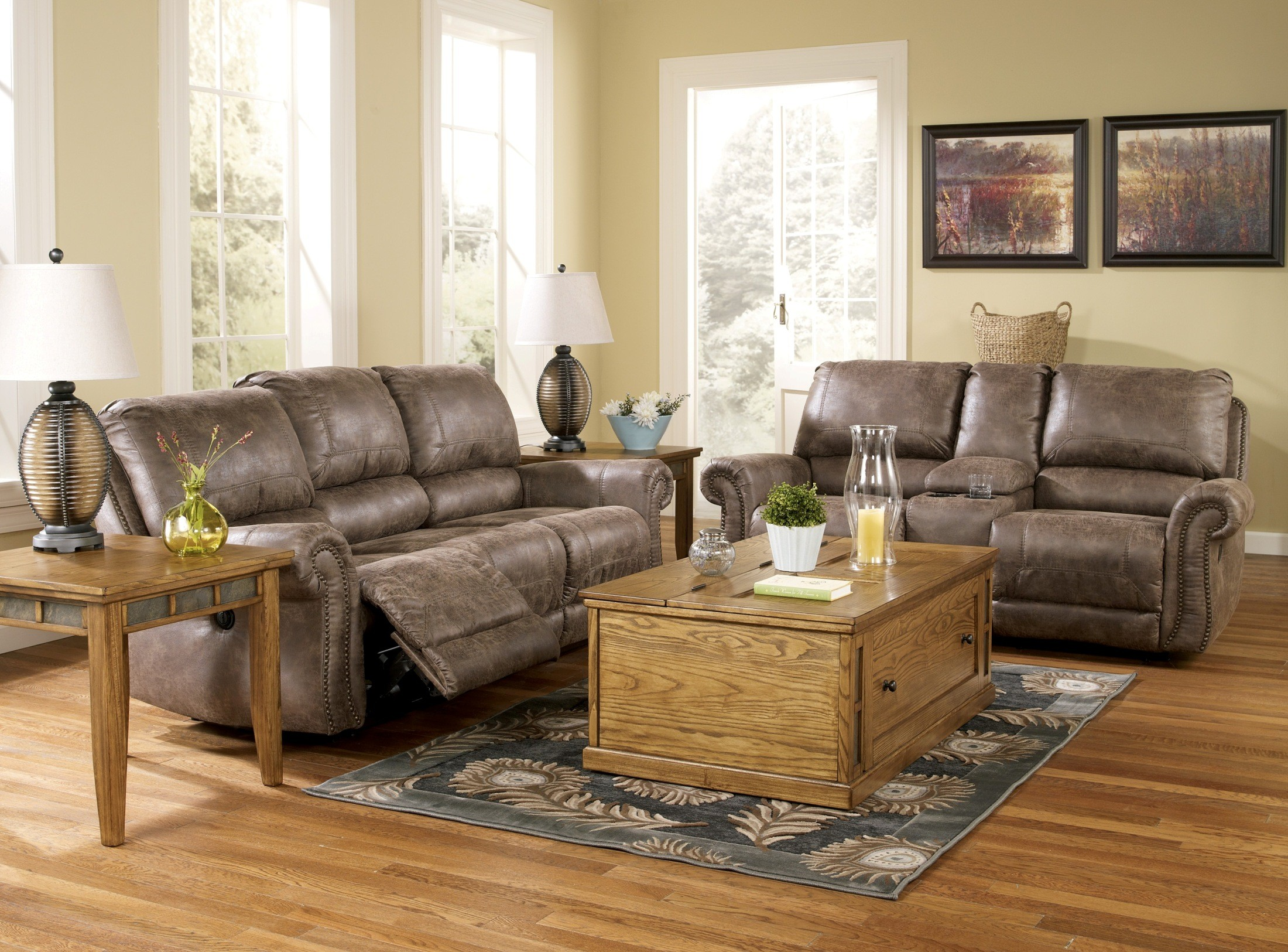Oberson Gunsmoke Reclining Living Room Set From Ashley 74100 Coleman Furniture