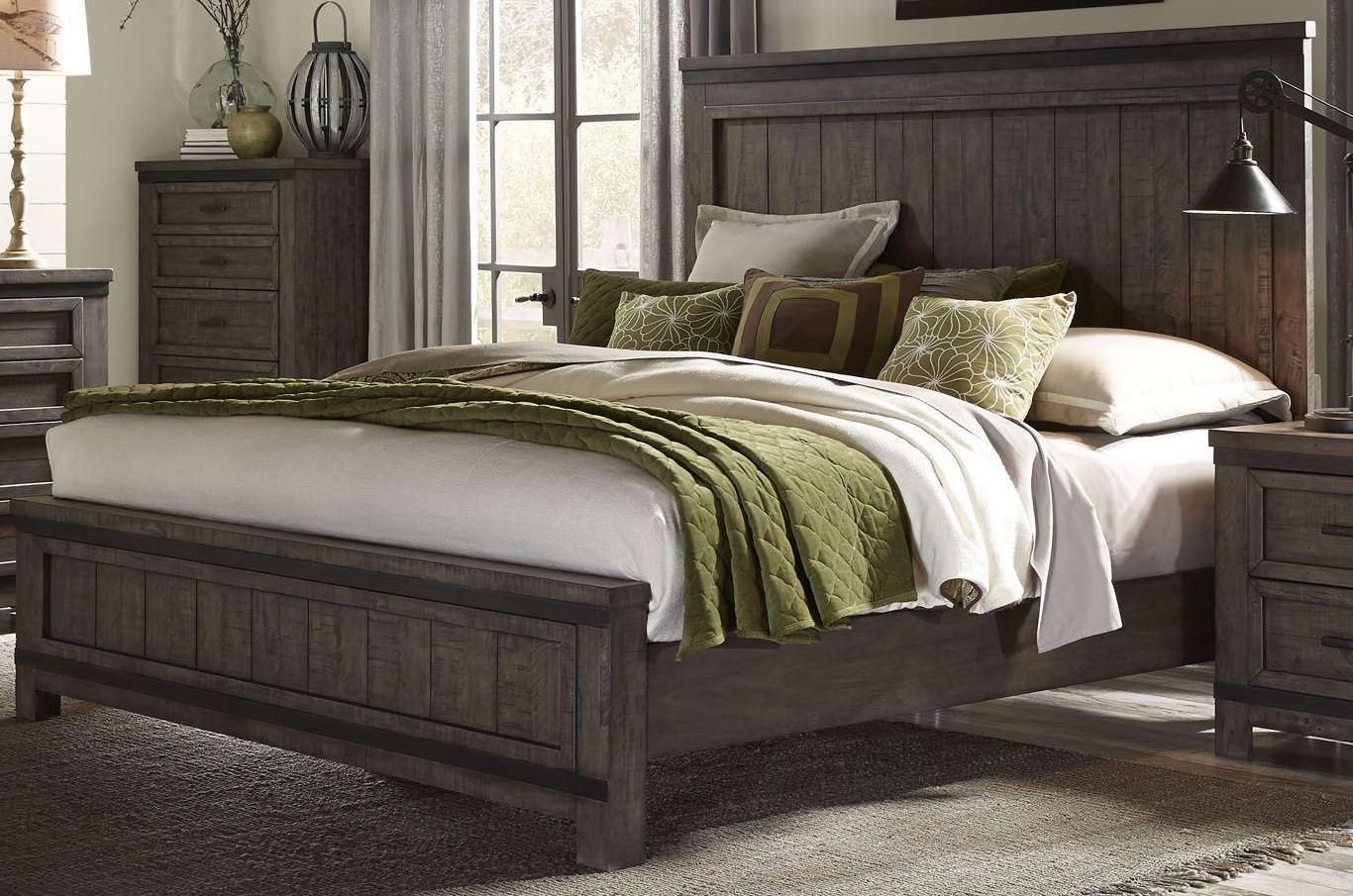 thornwood hills rock beaten gray panel bedroom set 759 br