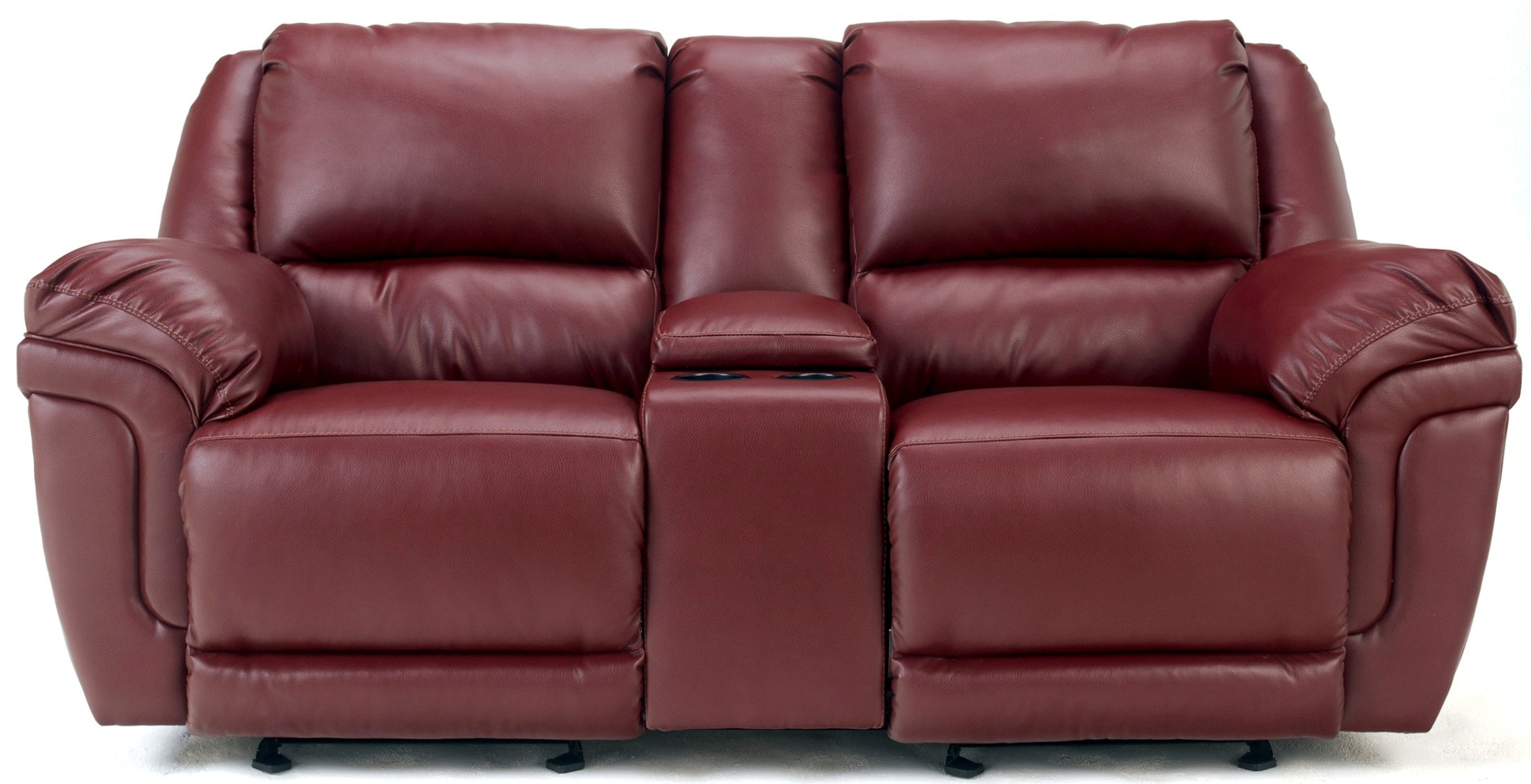 Ashley Magician Durablend Garnet Dual Glider Reclining Loveseat With Console