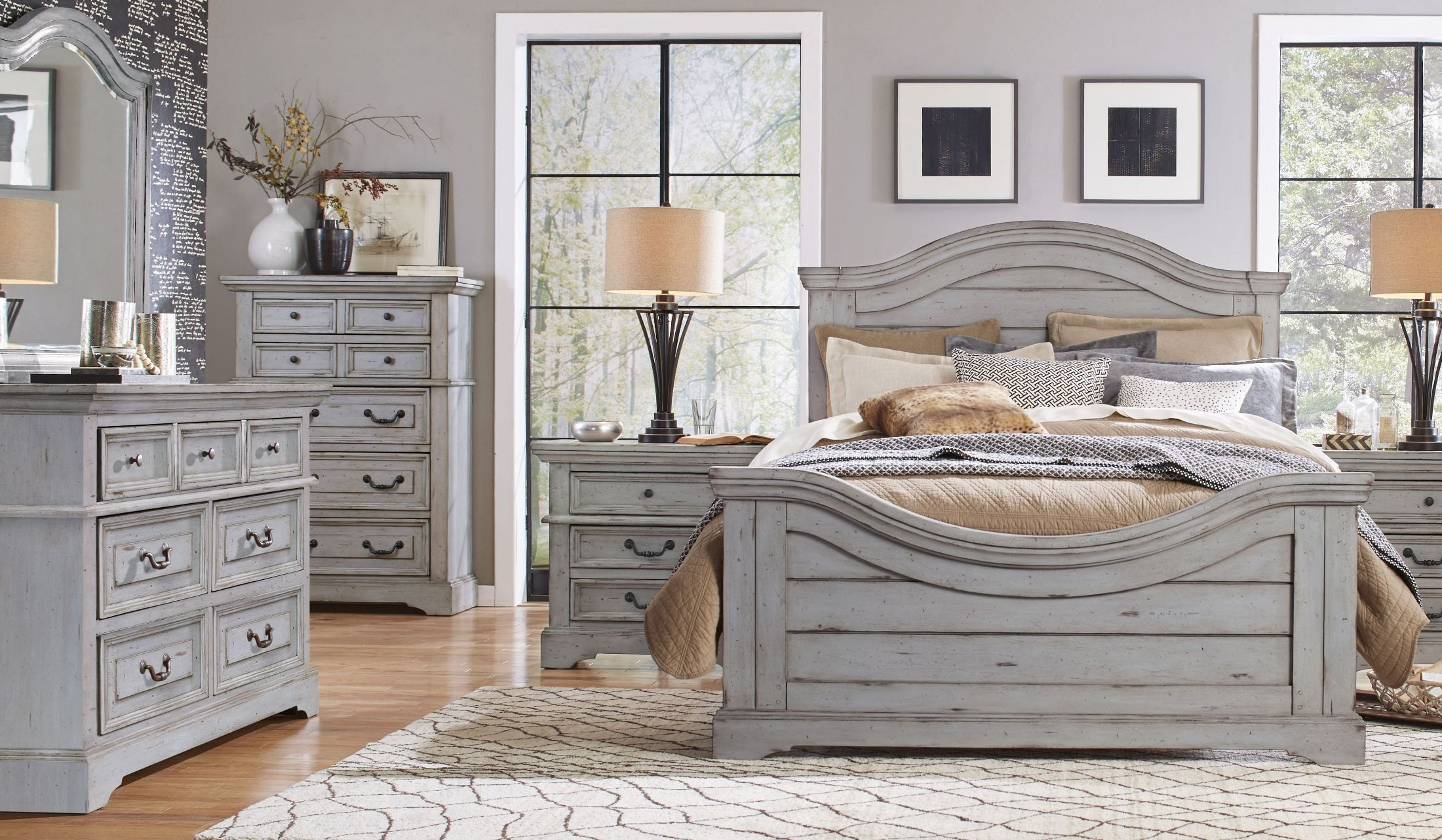 stonebrook antique gray panel bedroom set 7820 950 952 880 american woodcrafters