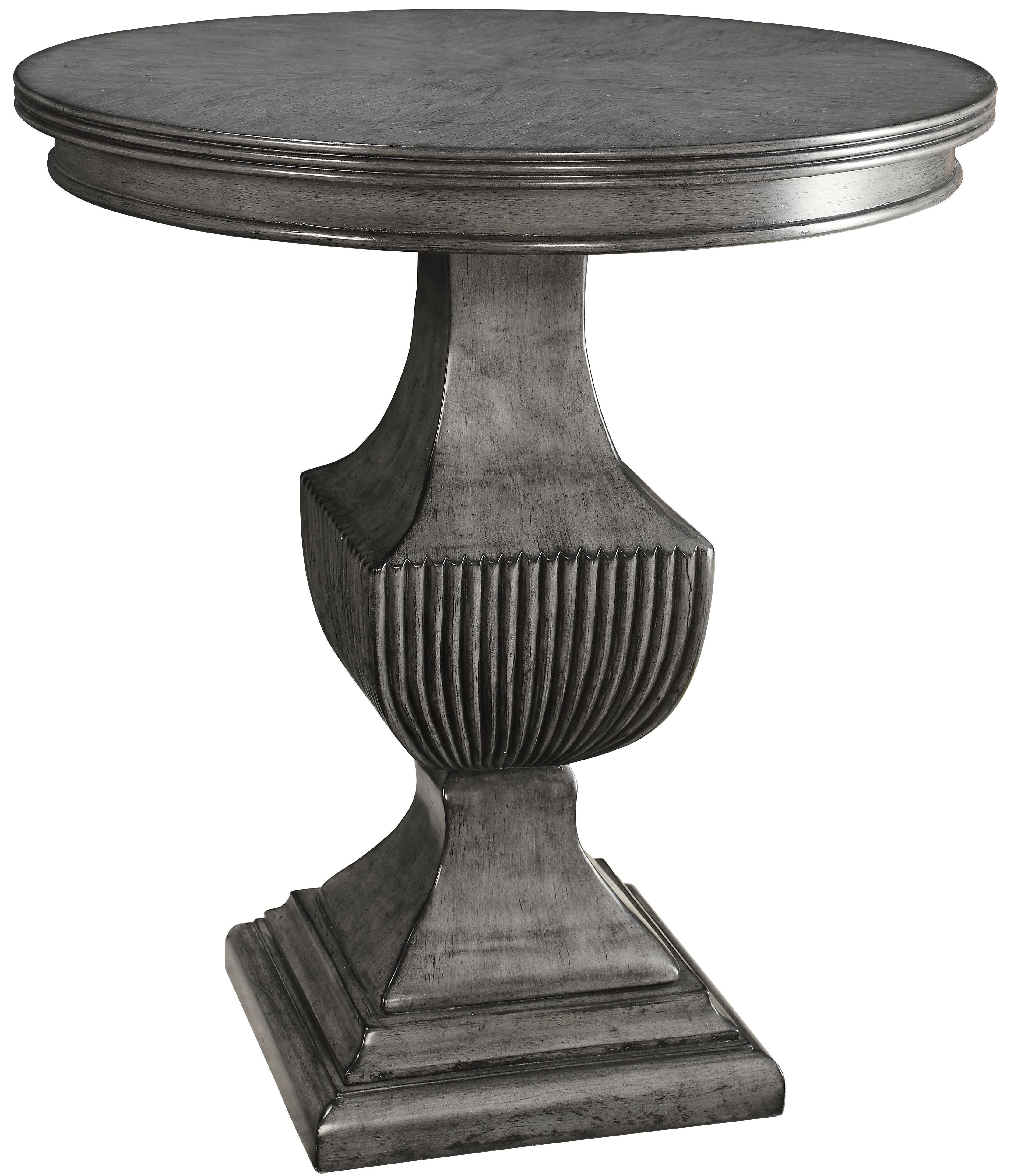 Round Side Table ~ Magnet burnished grey round accent table from coast to