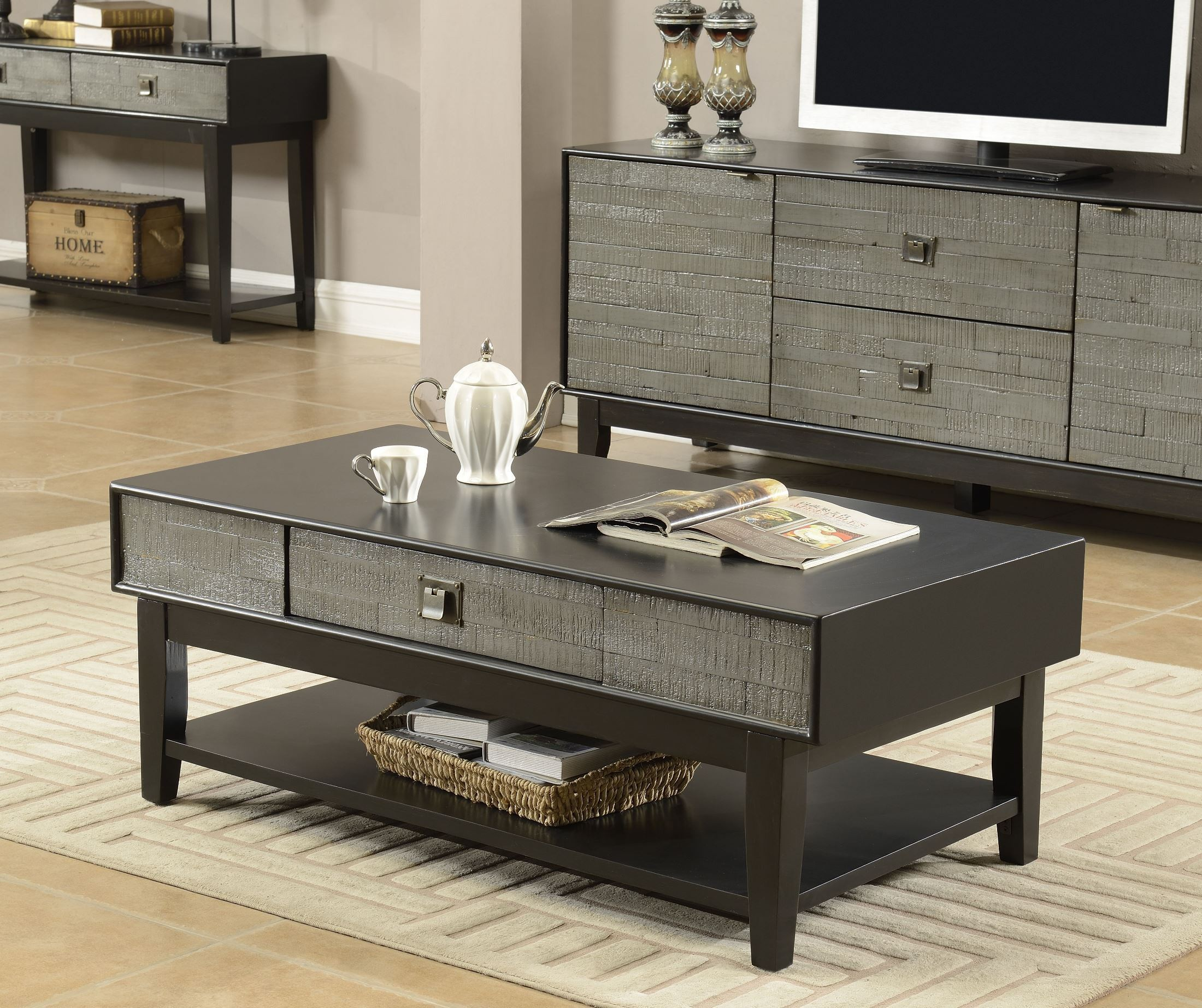 Linville grey one drawer occasional table set from coast for Occasional table with drawers