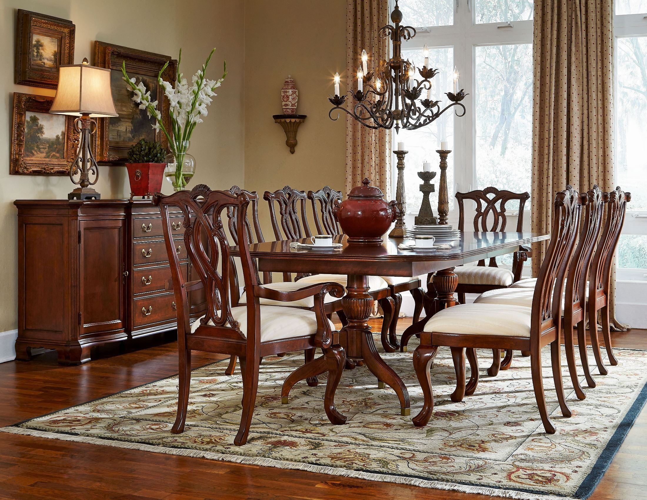 cherry grove classic antique extendable cherry pedestal dining table 792 744r american drew. Black Bedroom Furniture Sets. Home Design Ideas