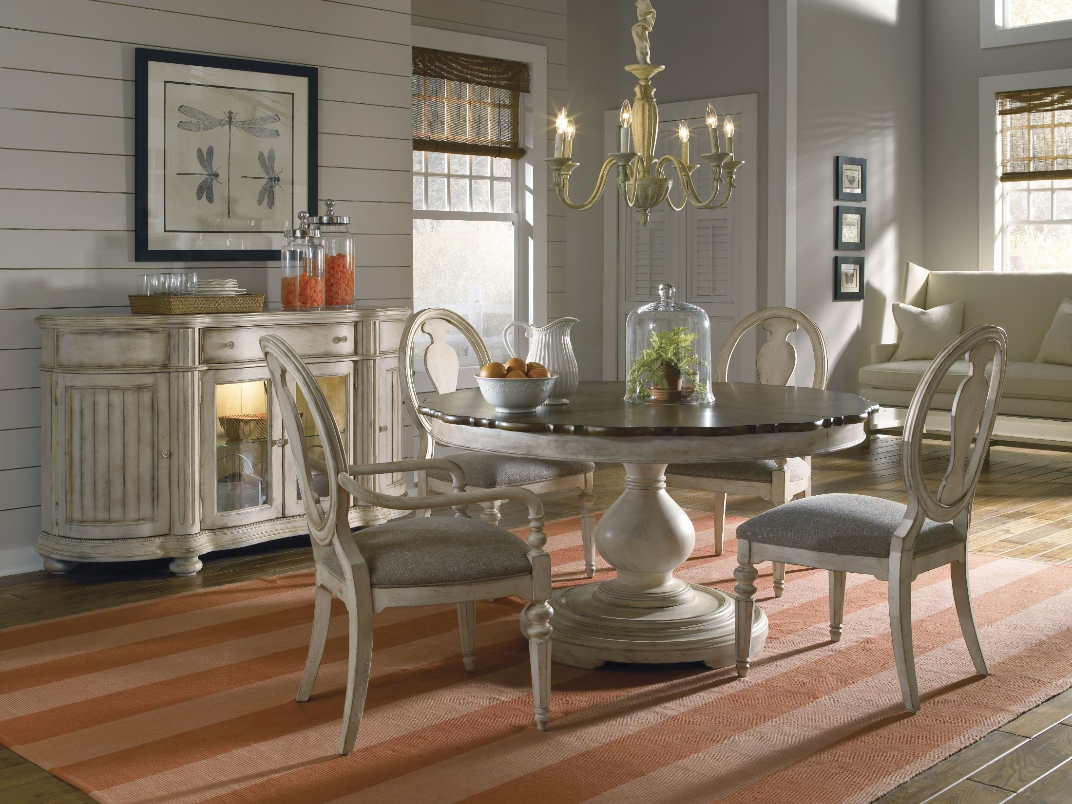 ... Dining Sets > Belmar Antique Linen Round Extendible Dining Room Set