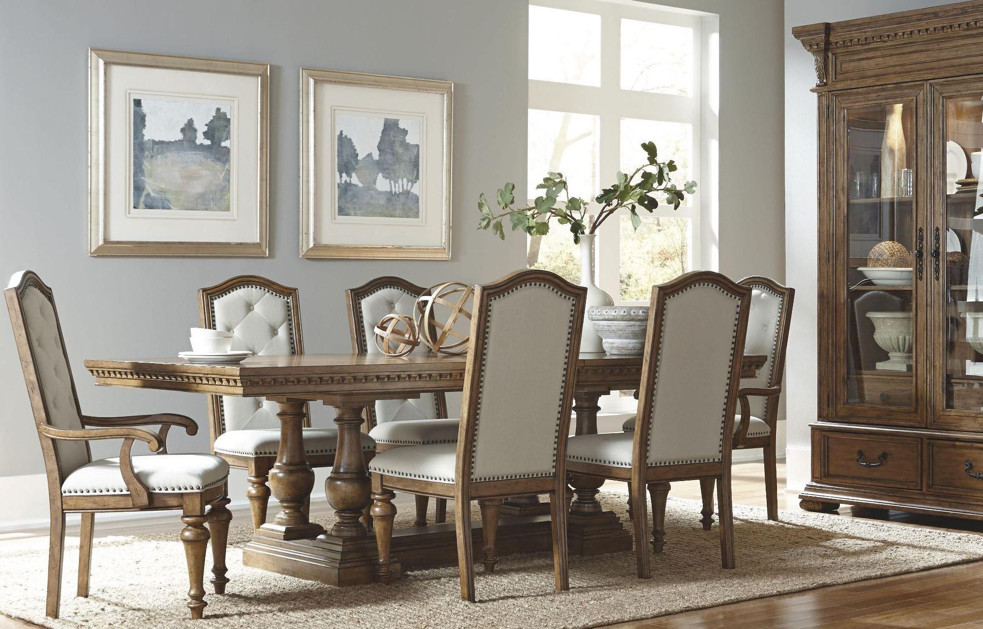Stratton medium wood extendable trestle dining room set for Trestle dining room sets
