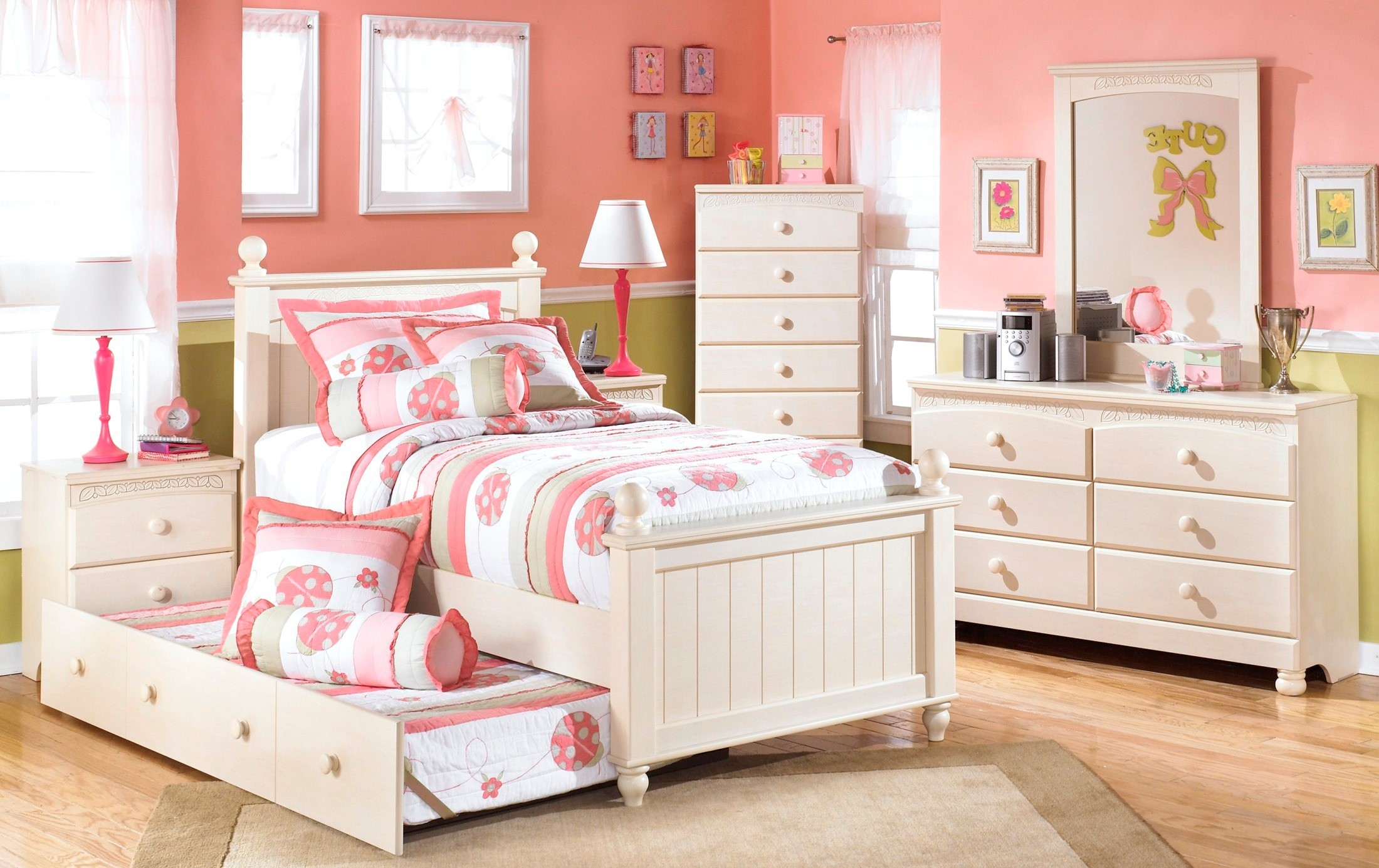 Cottage retreat youth poster trundle bedroom set from ashley coleman furniture for Cottage retreat bedroom set