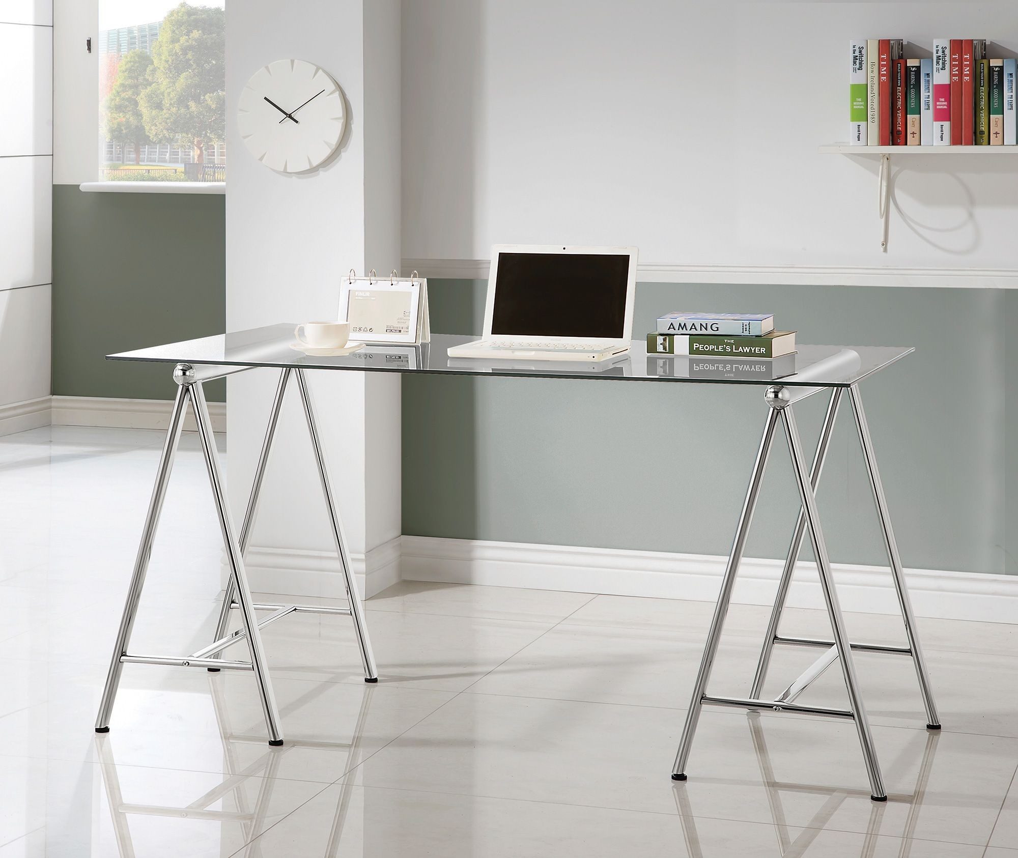 Nickel Glass Top Writing Desk from Coaster