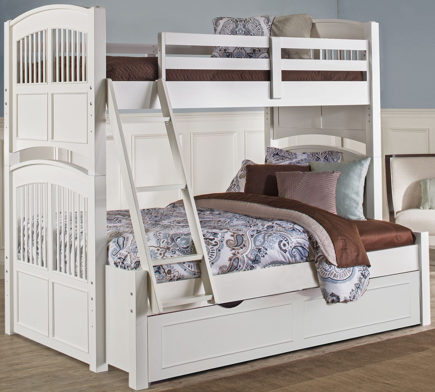 walnut street white hayden twin over full bunk bed with trundle 8055nt ne kids. Black Bedroom Furniture Sets. Home Design Ideas