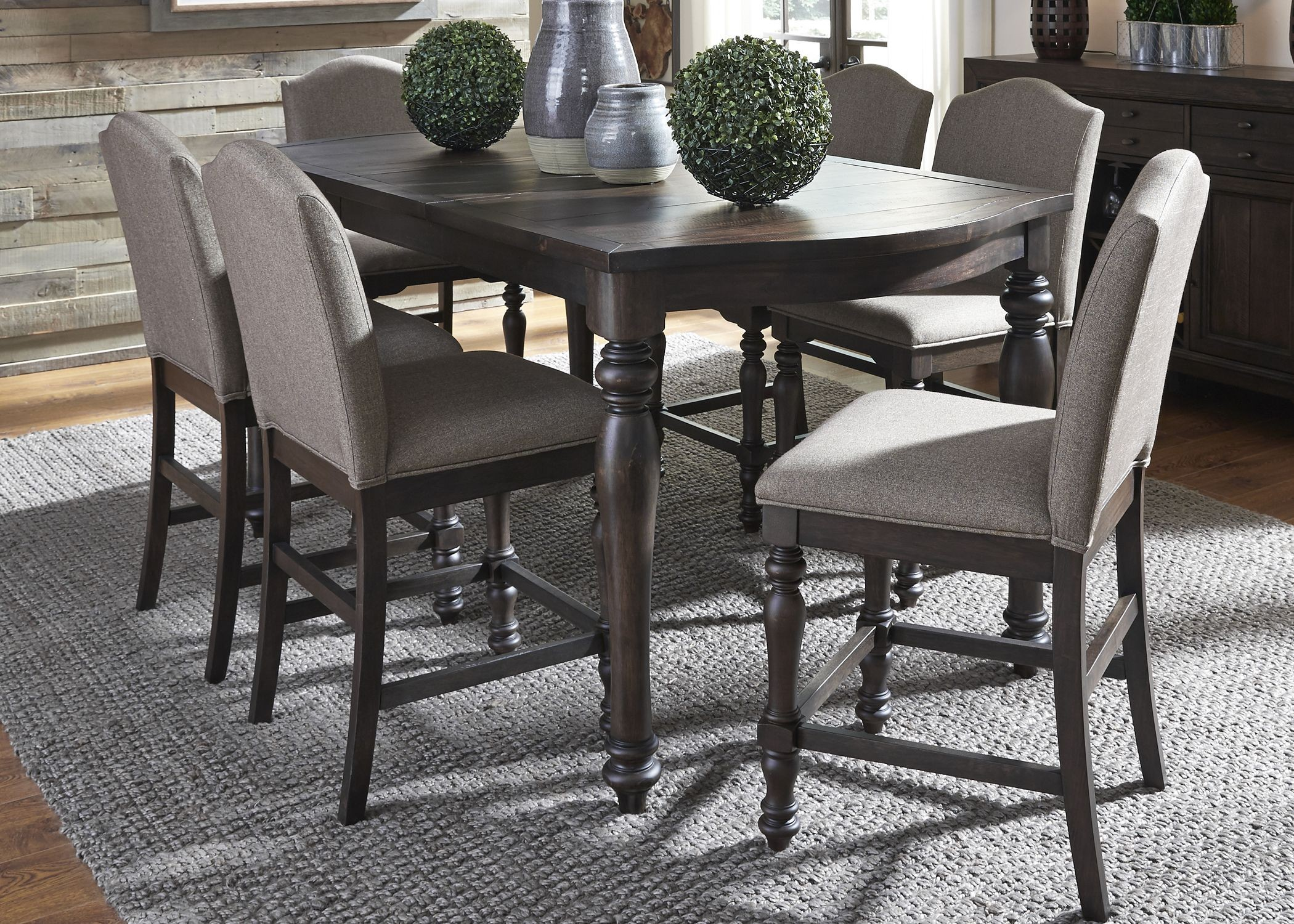 Catawba Hills Peppercorn Extendable Gathering Dining Room Set 816 GT4078 Li