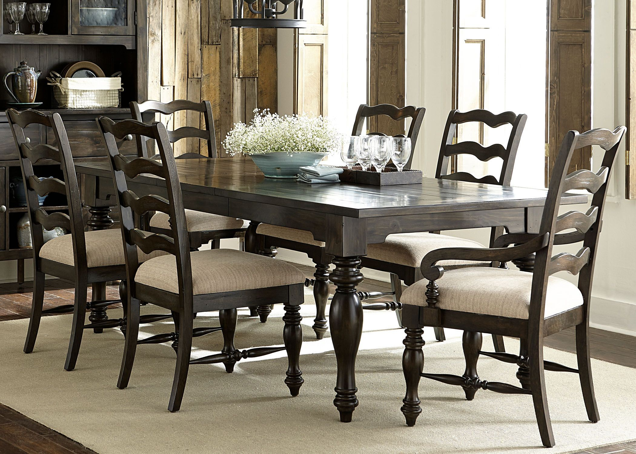 Southern Pines Bark Extendable Dining Room Set 818 T4290 Liberty
