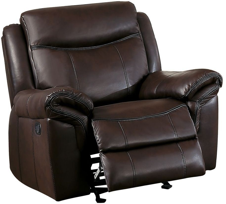 Aram Dark Brown Glider Reclining Chair 8206BRW 1 Homelegance