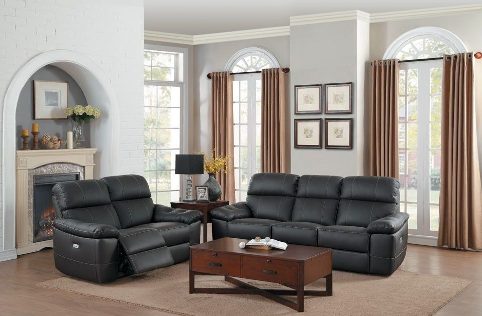 Nicasio dark brown power double reclining living room set for Dark brown living room set