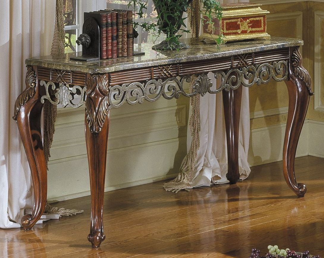 Barcelona Sofa Table With Marble Top From Homelegance