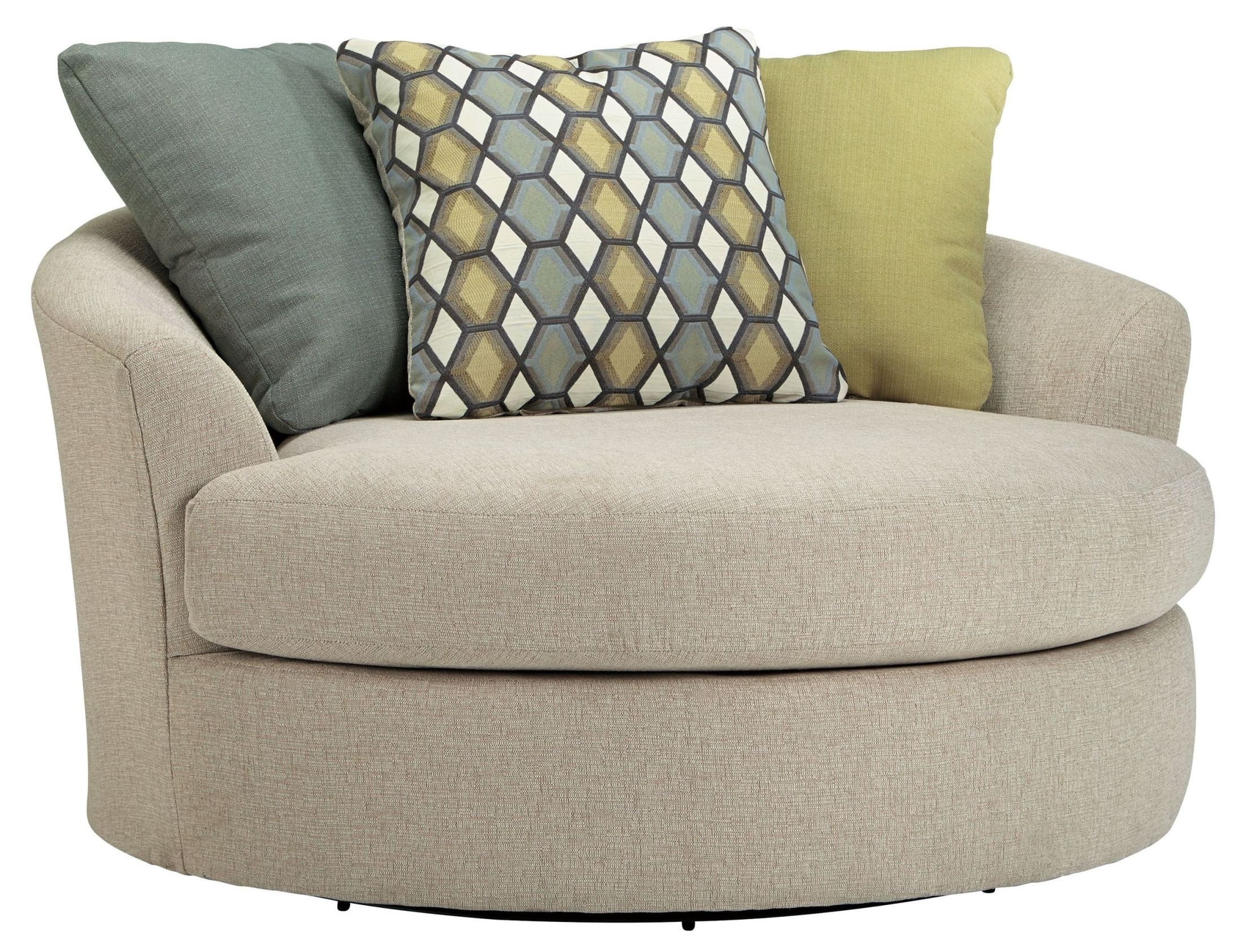 Casheral linen oversized swivel accent chair from ashley for Large armchair