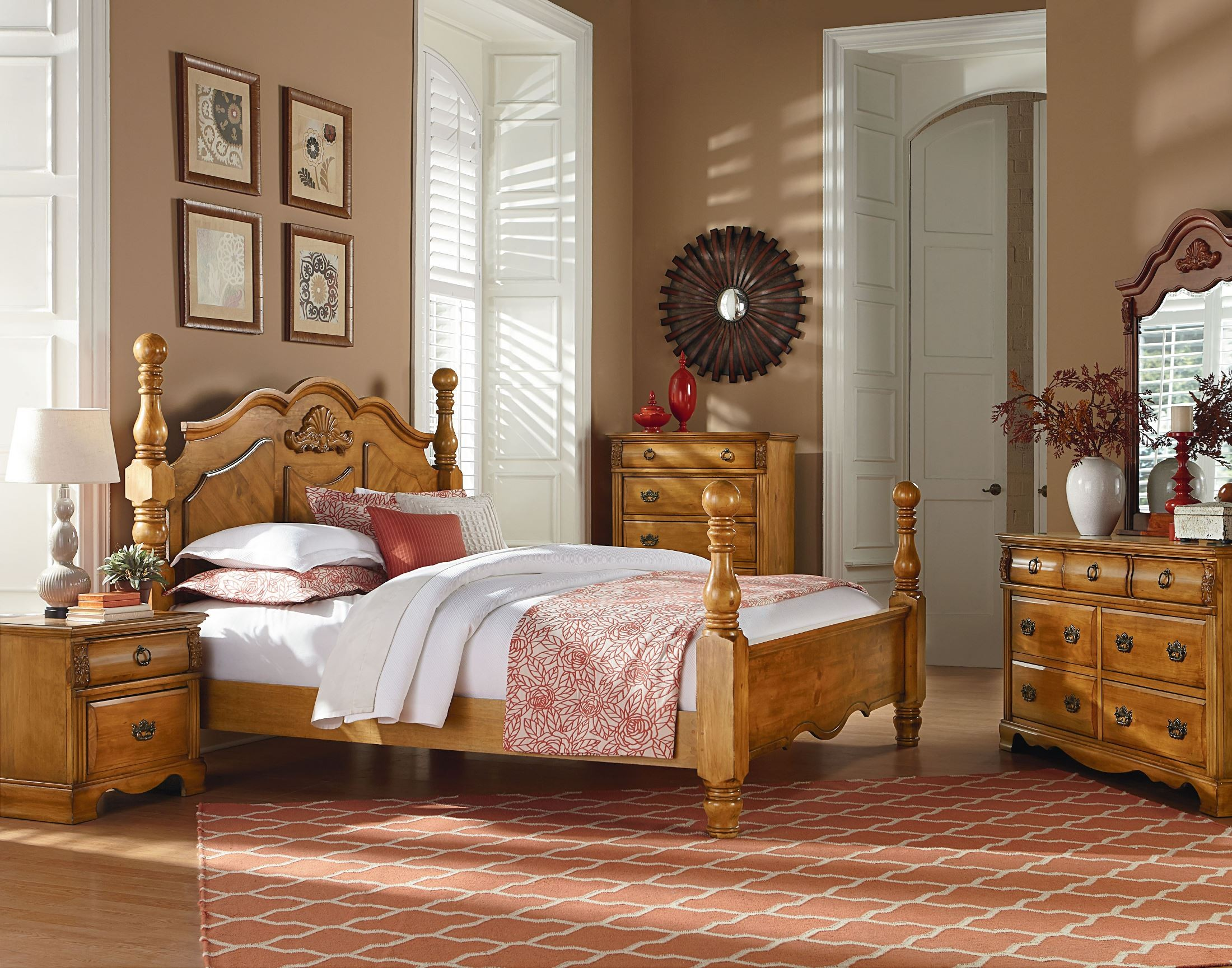 Georgetown golden honey pine poster bedroom set 83000 for Pine bedroom furniture