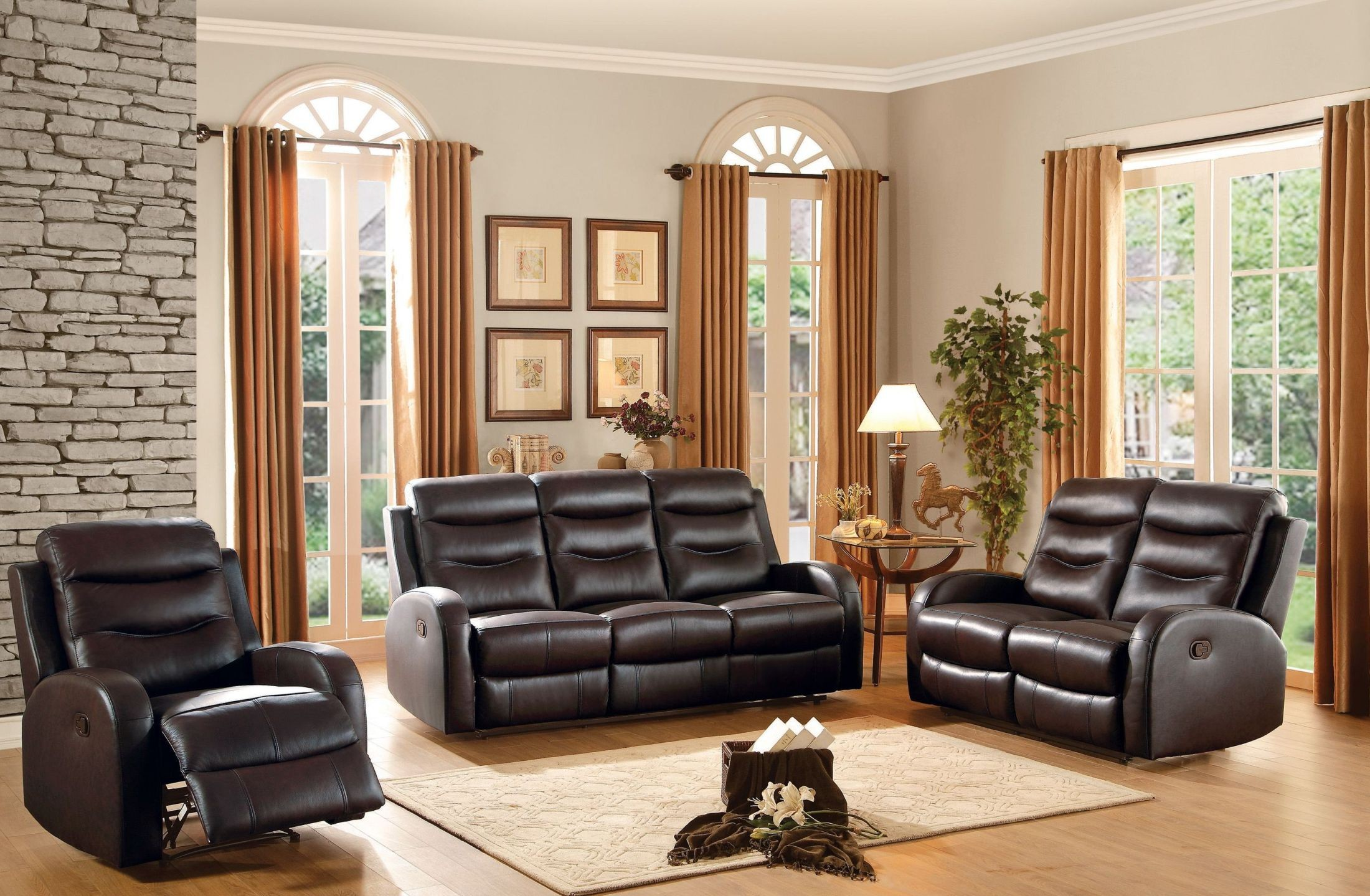 Coppins brown double reclining living room set 2343457 for Double chairs for living room