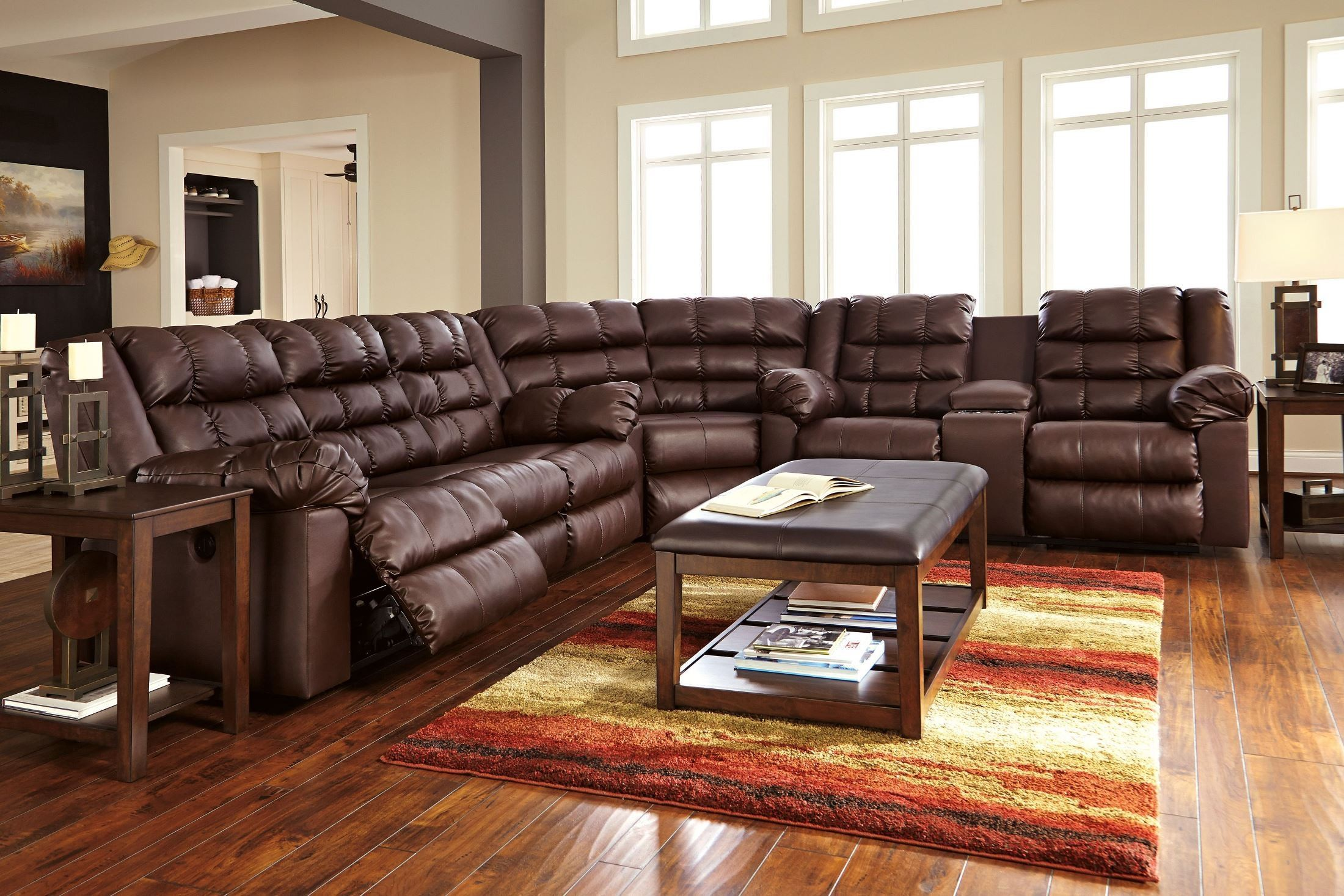 Brolayne Durablend Brown Reclining Sectional From Ashley 83202 88 94 77 Coleman Furniture