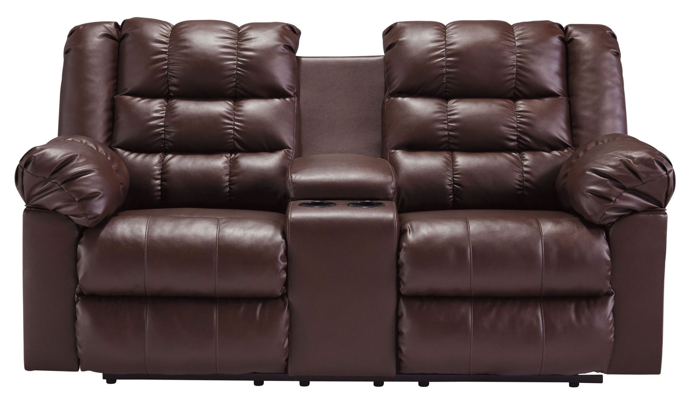 Brolayne Durablend Brown Double Reclining Loveseat With Console From Ashley 8320294 Coleman