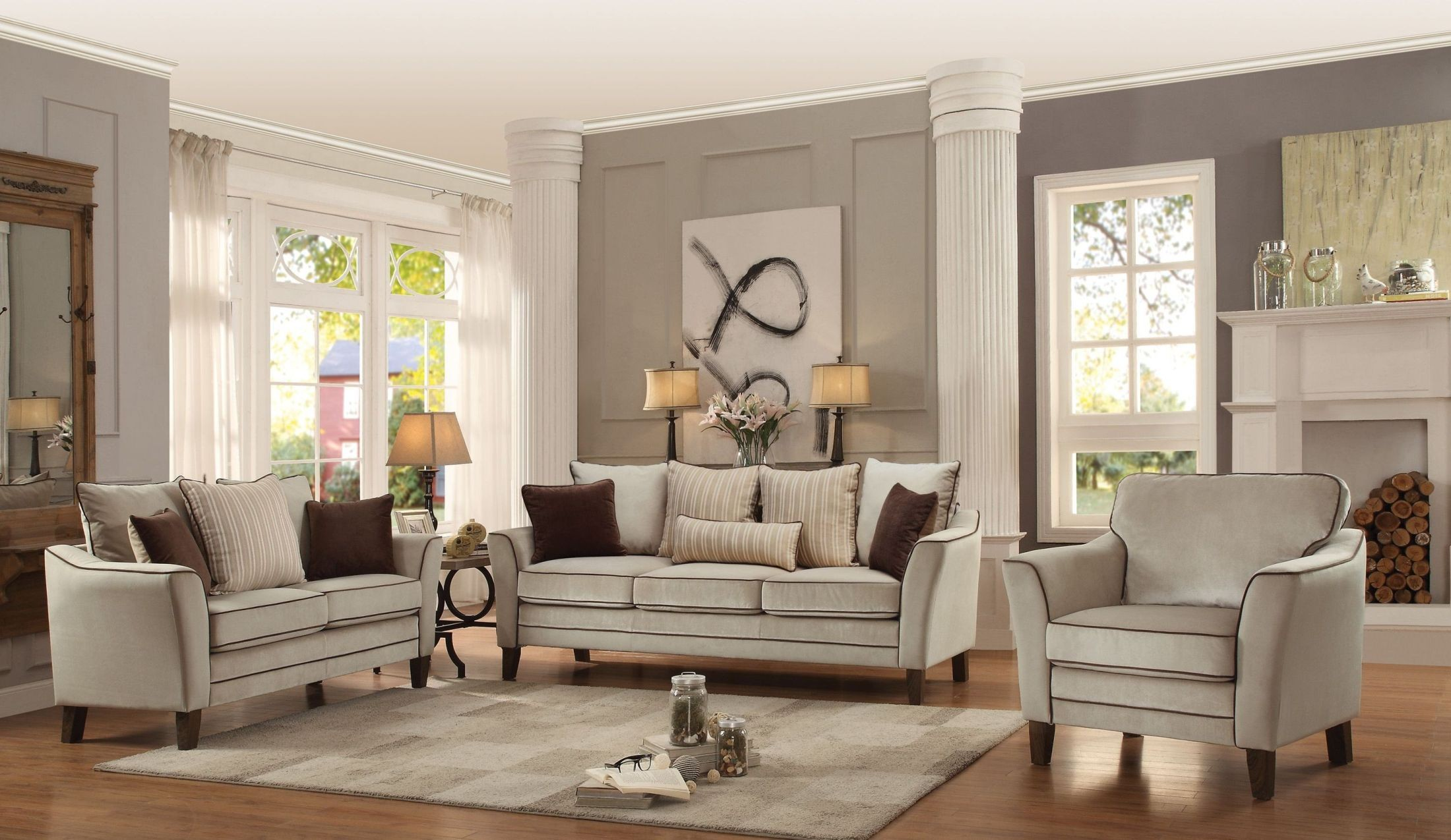 ouray cream living room set 2346013 homelegance