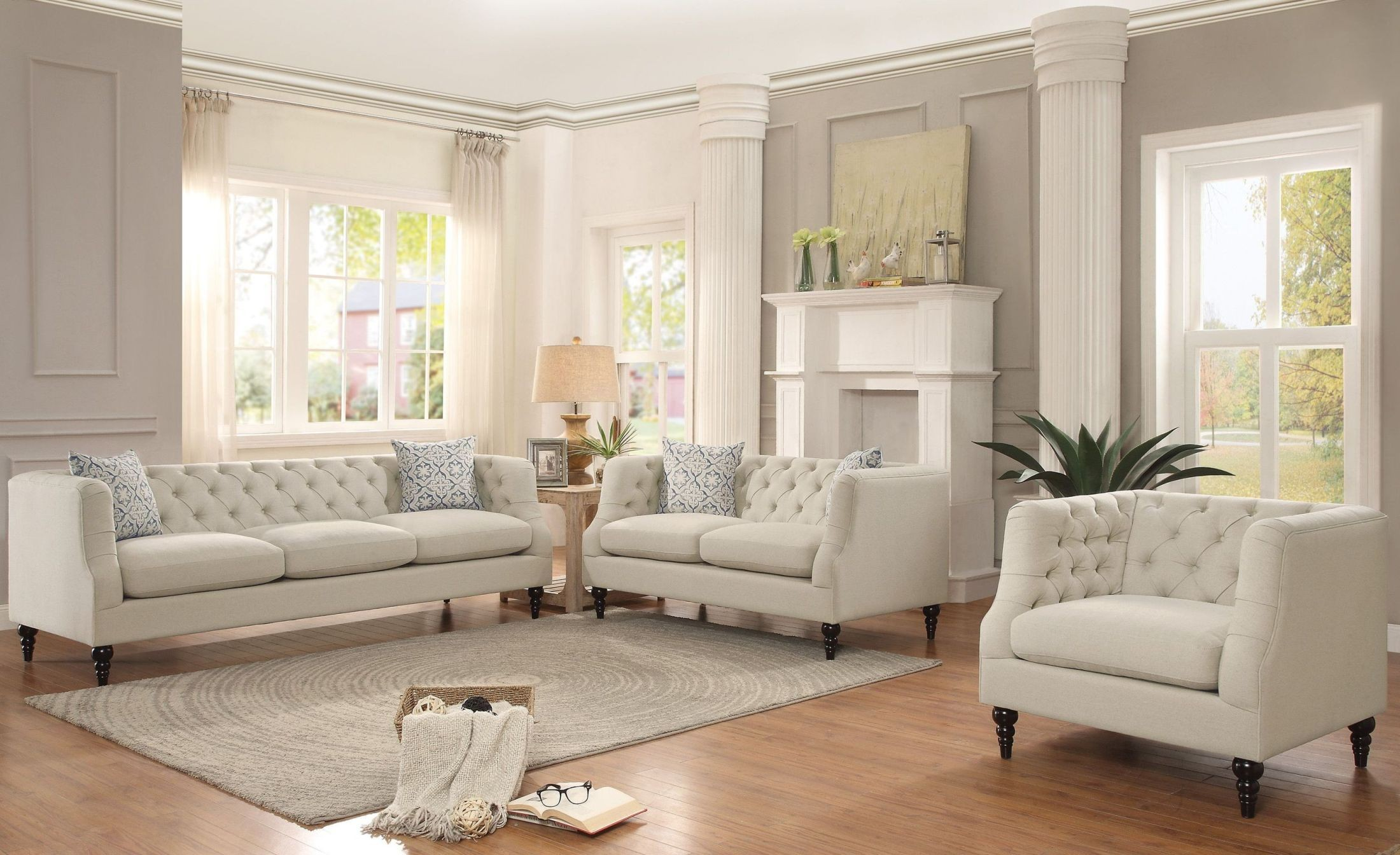 radley cream living room set 2346379 homelegance