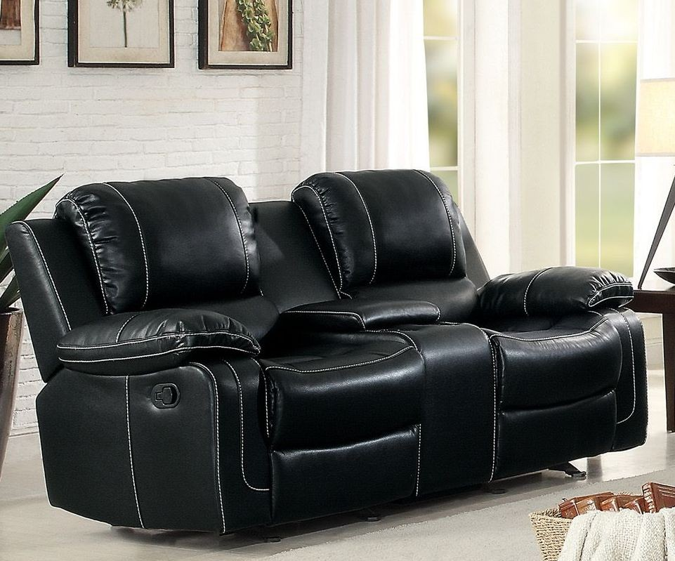 Oriole Black Double Glider Reclining Loveseat 8334blk 2 Homelegance