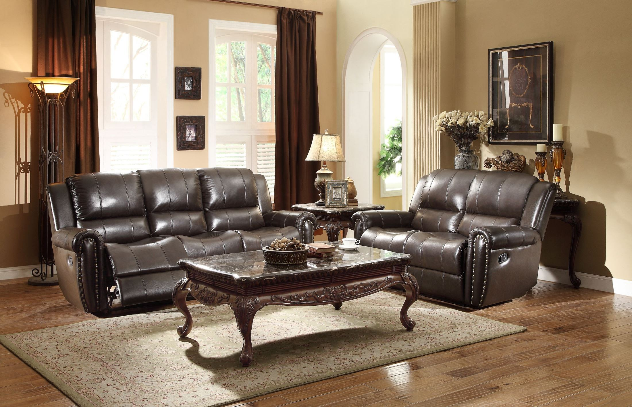 Bosworth dark brown double reclining living room set from for Dark brown living room set