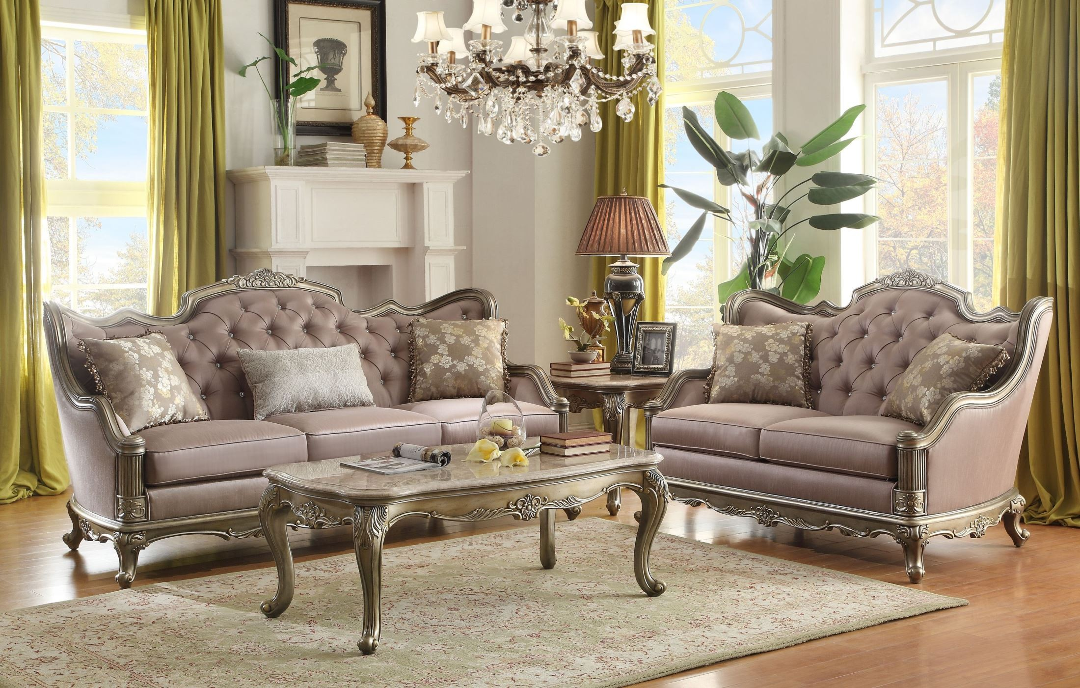 fiorella gold faux silk living room set from homelegance 8412 3
