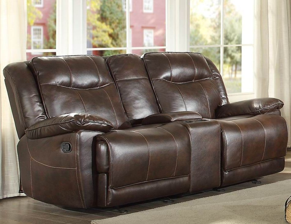 Wasola Brown Double Glider Reclining Loveseat 8414dbr 2 Homelegance
