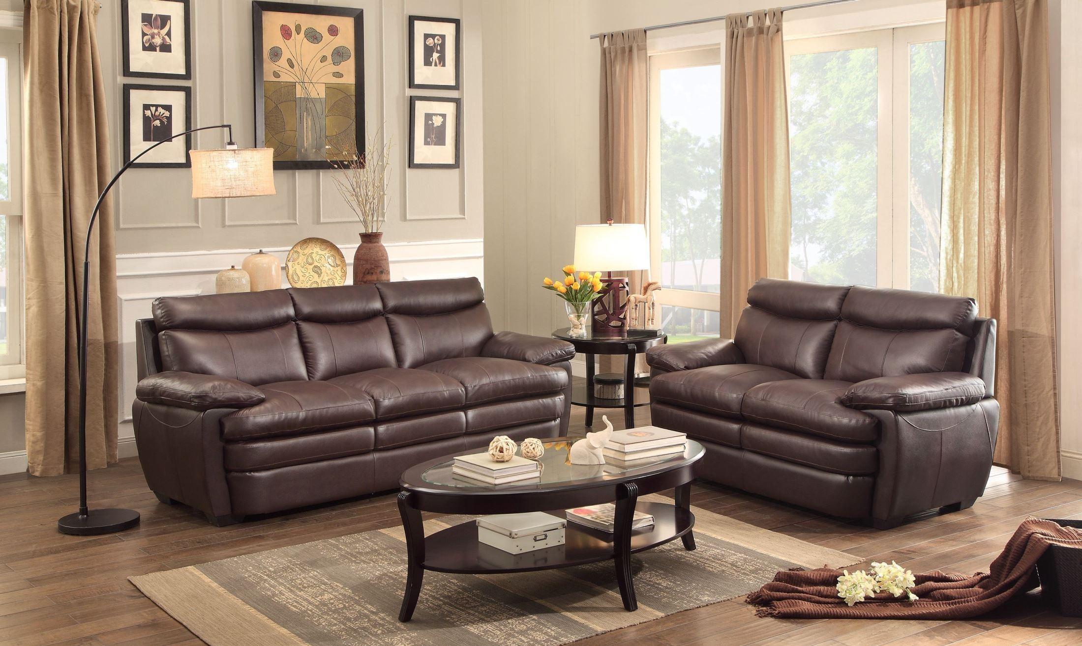 Rozel dark brown living room set from homelegance 8428 3 for Brown living room set