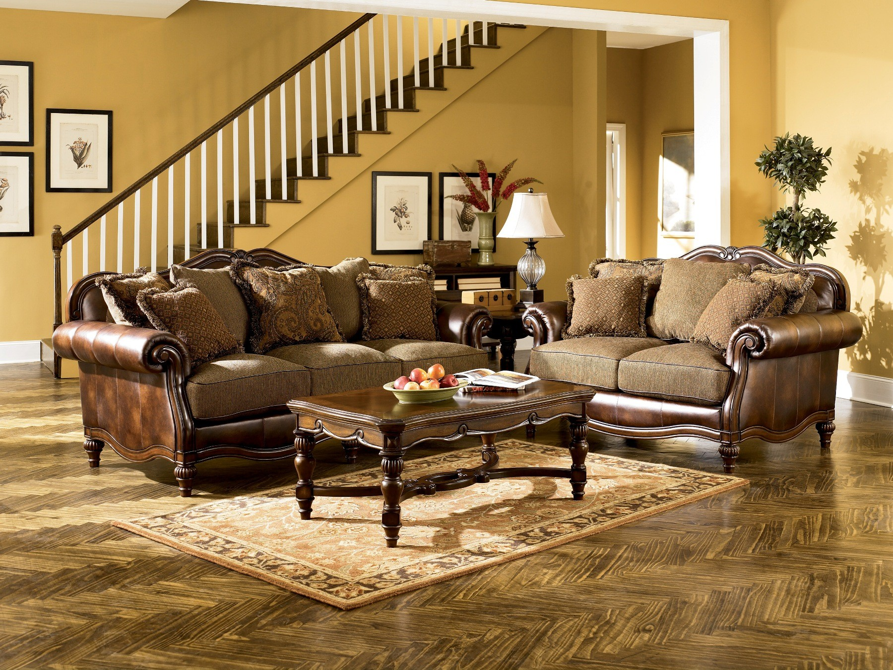 Claremore Antique Living Room Set From Ashley  Coleman - Antique living room furniture