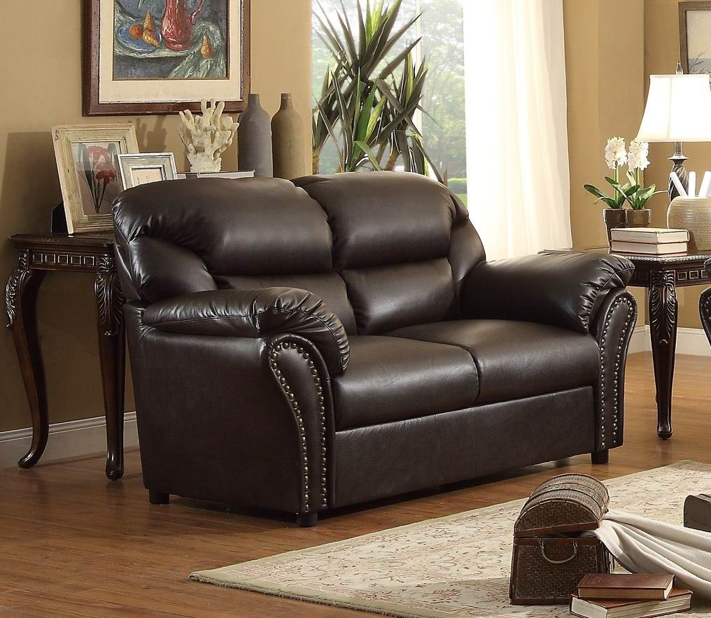 Stinett dark brown living room set from homelegance for Dark brown living room set