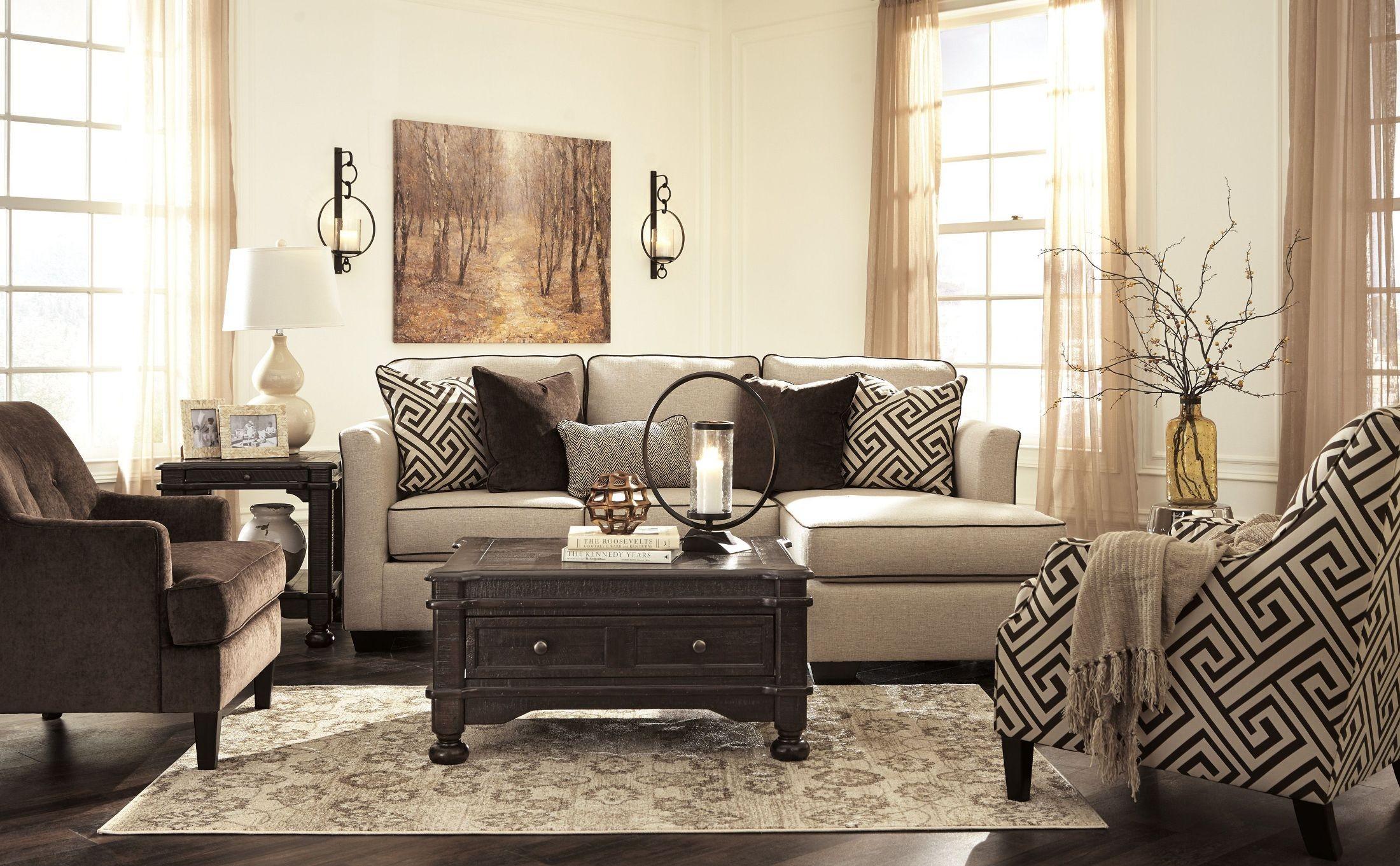 Carlinworth linen living room set 8440118 ashley - Ashley furniture 14 piece living room sale ...