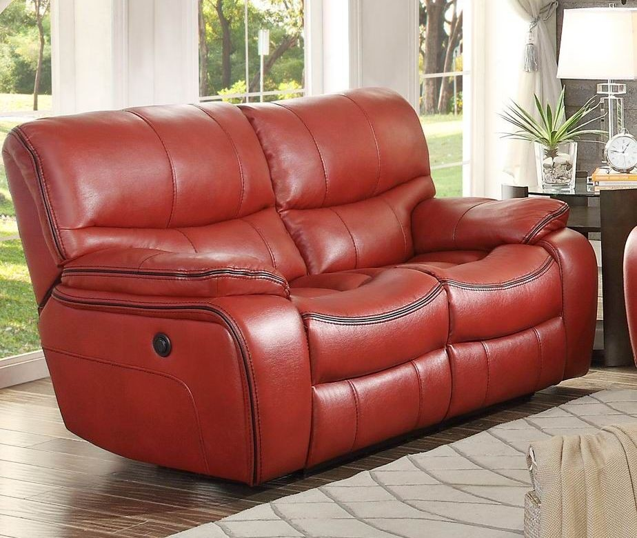 Pecos Red Power Double Reclining Loveseat 8480red 2pw Homelegance