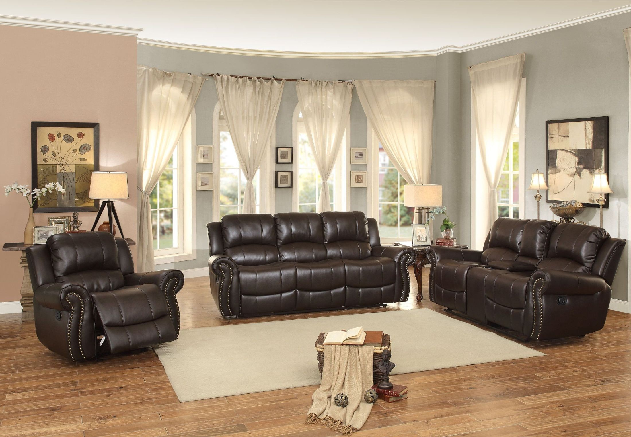 annapolis brown double reclining living room set 8489brw 3