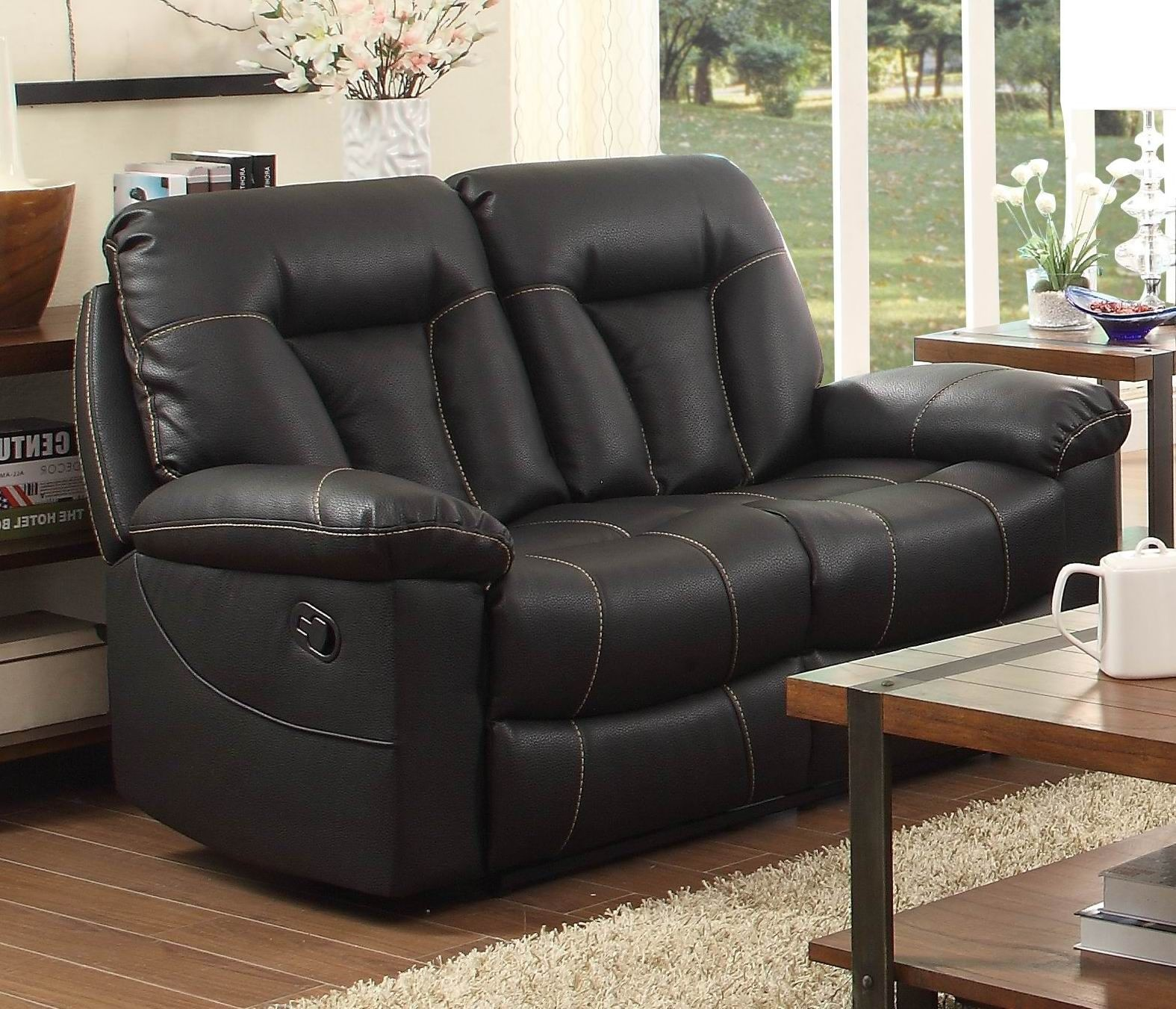 Cade Black Double Reclining Loveseat 8512blk 2 Homelegance