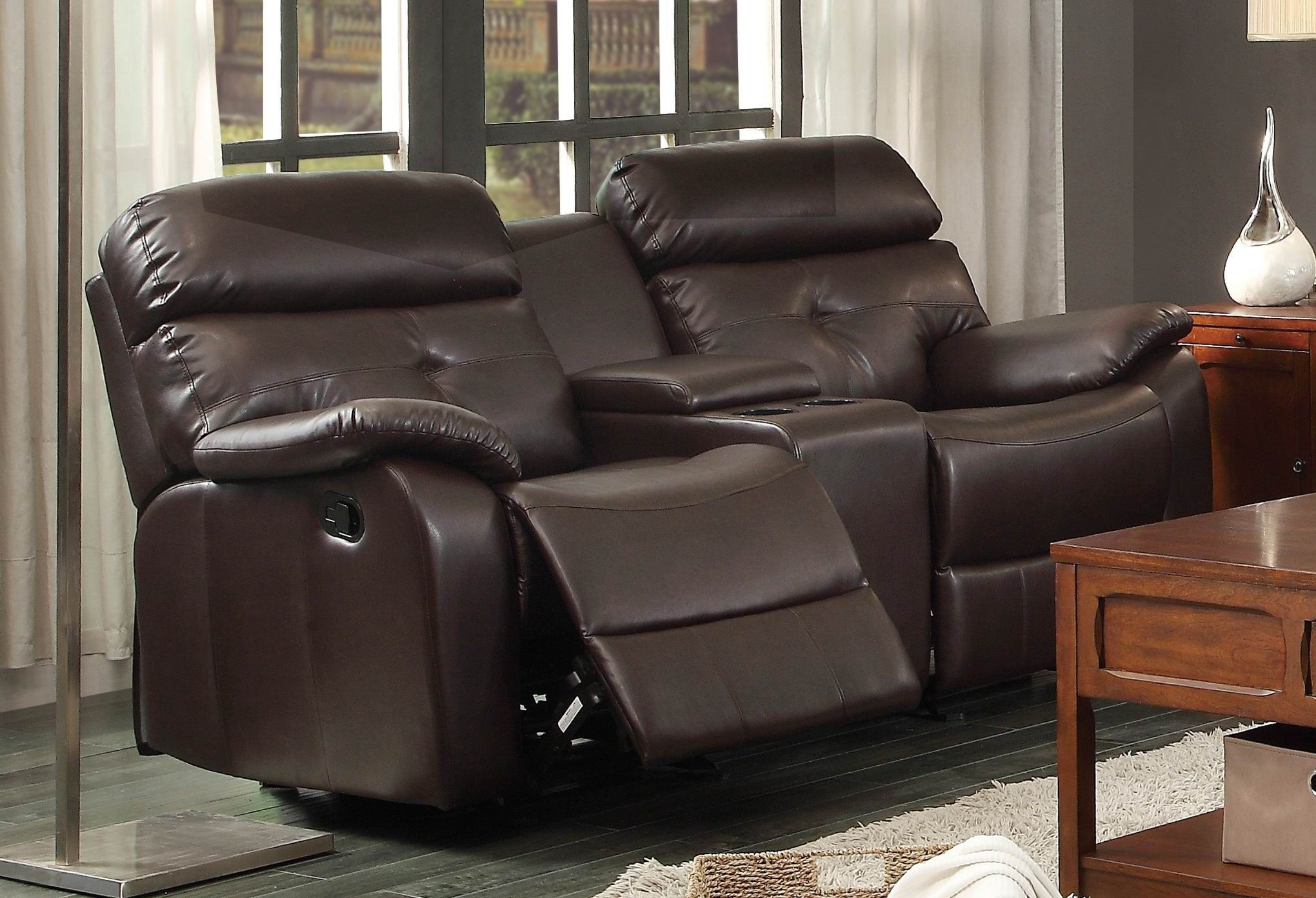 Evana Double Glider Reclining Loveseat With Console From Homelegance 12785 Coleman Furniture