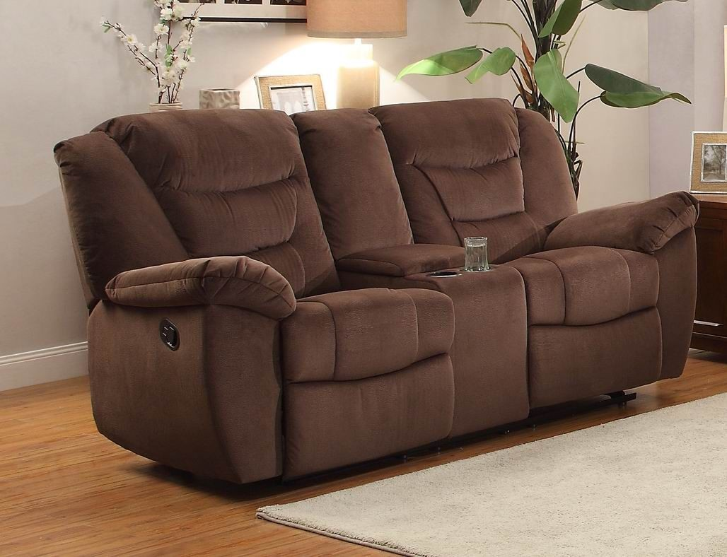 Triplett Chocolate Double Glider Reclining Console Loveseat 8556ch 2 Homelegance