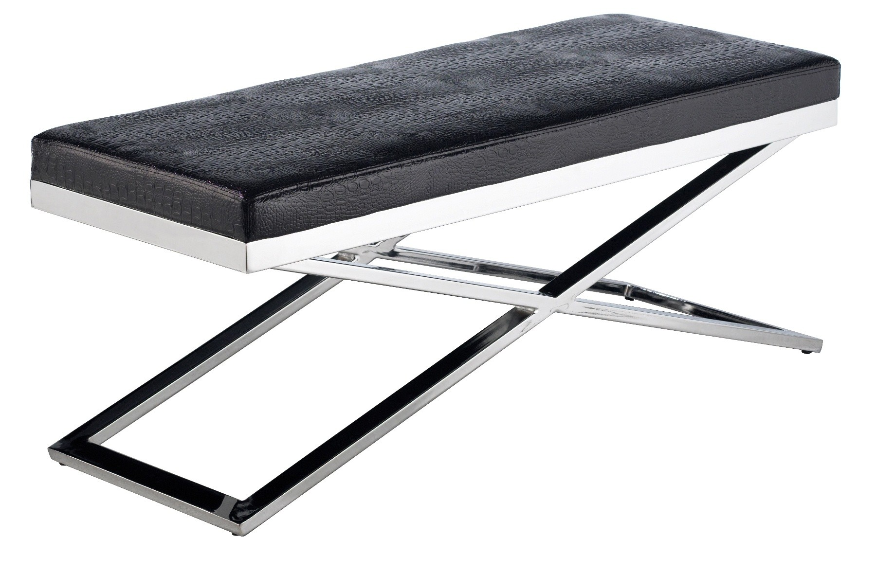 Crawford Black X Base Crocodile Bench From Sunpan 85962 Coleman Furniture