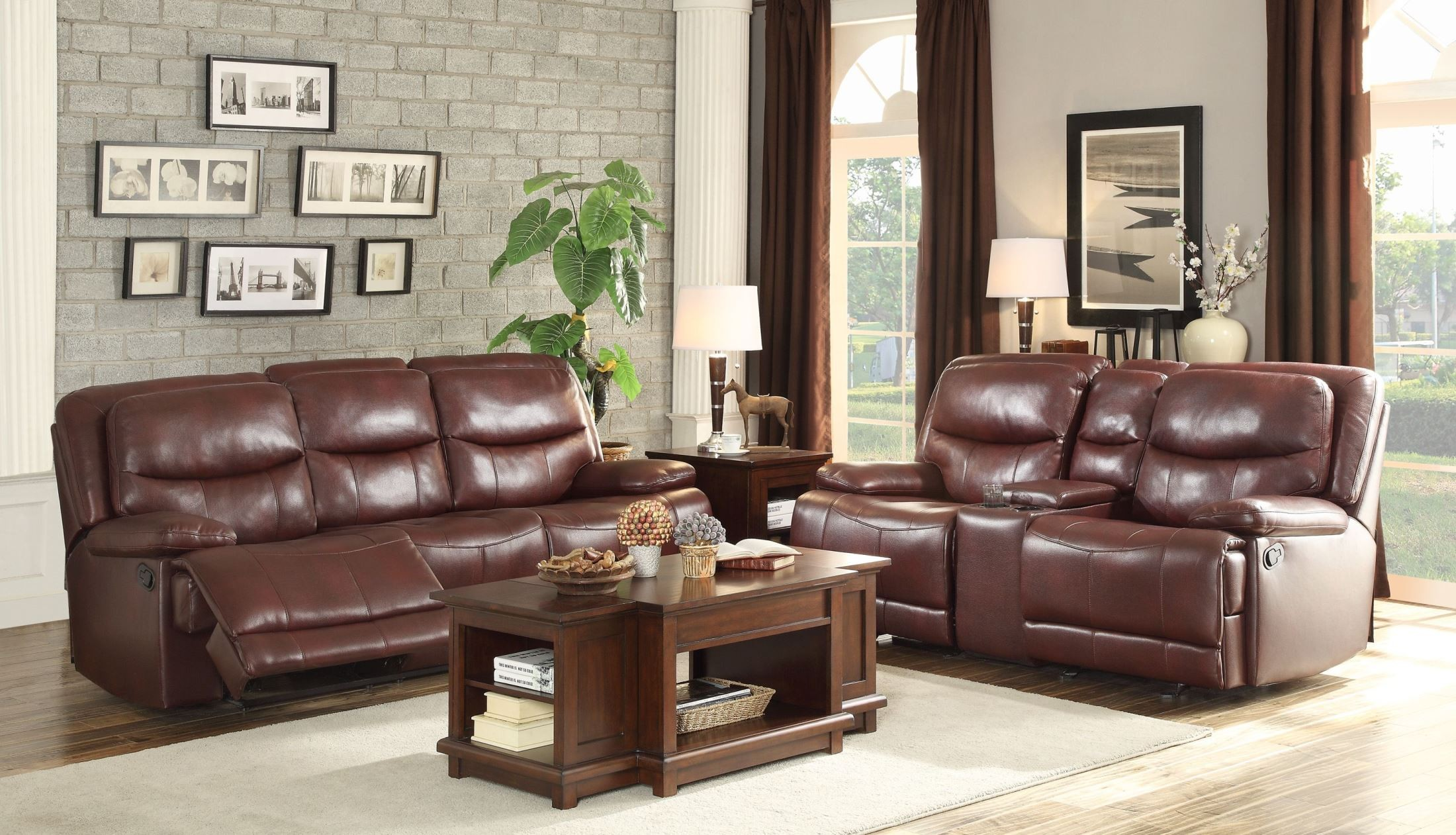 Risco burgundy double glider reclining console loveseat for Burgundy living room set