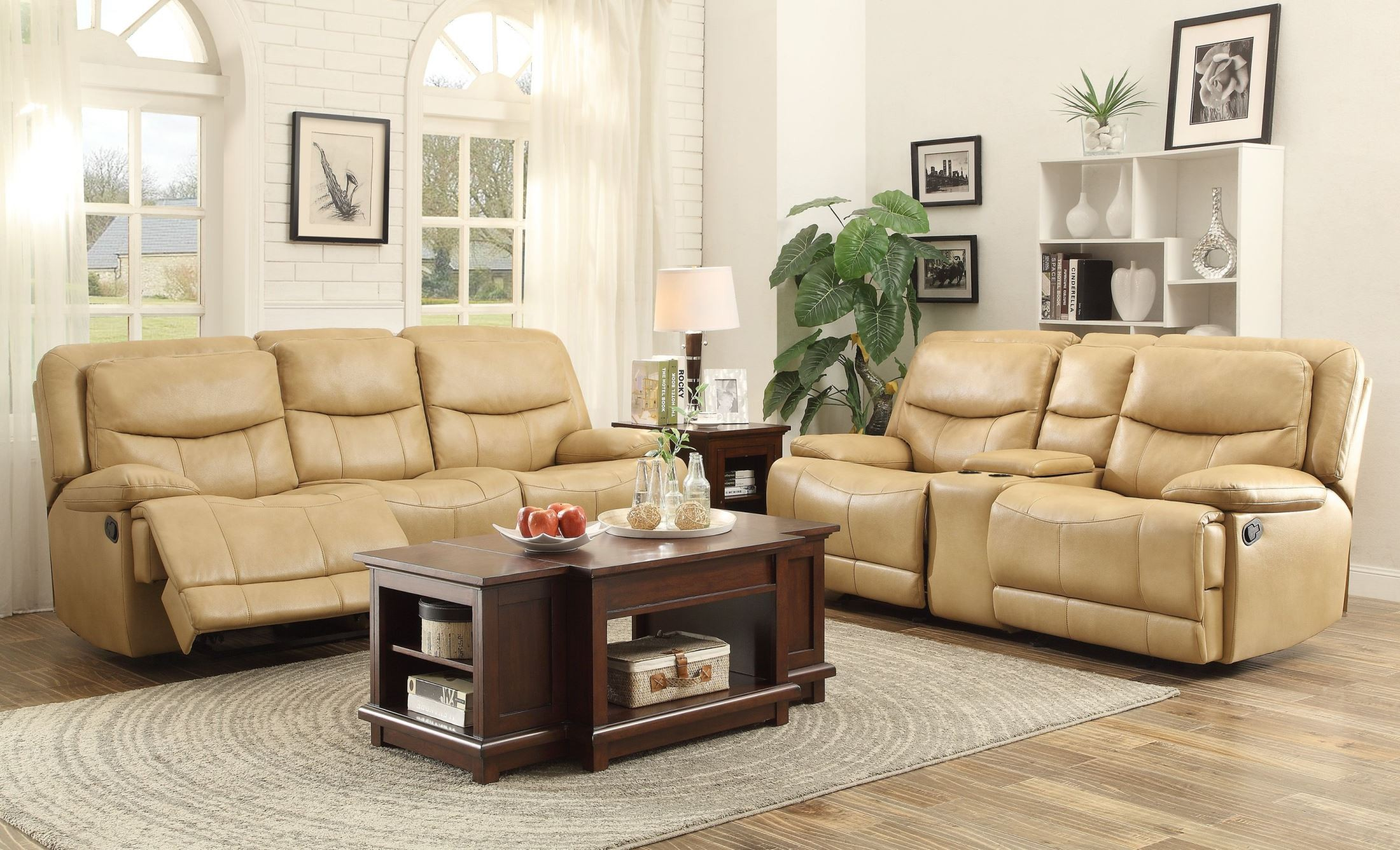 Risco honey double reclining living room set from for Double chairs for living room
