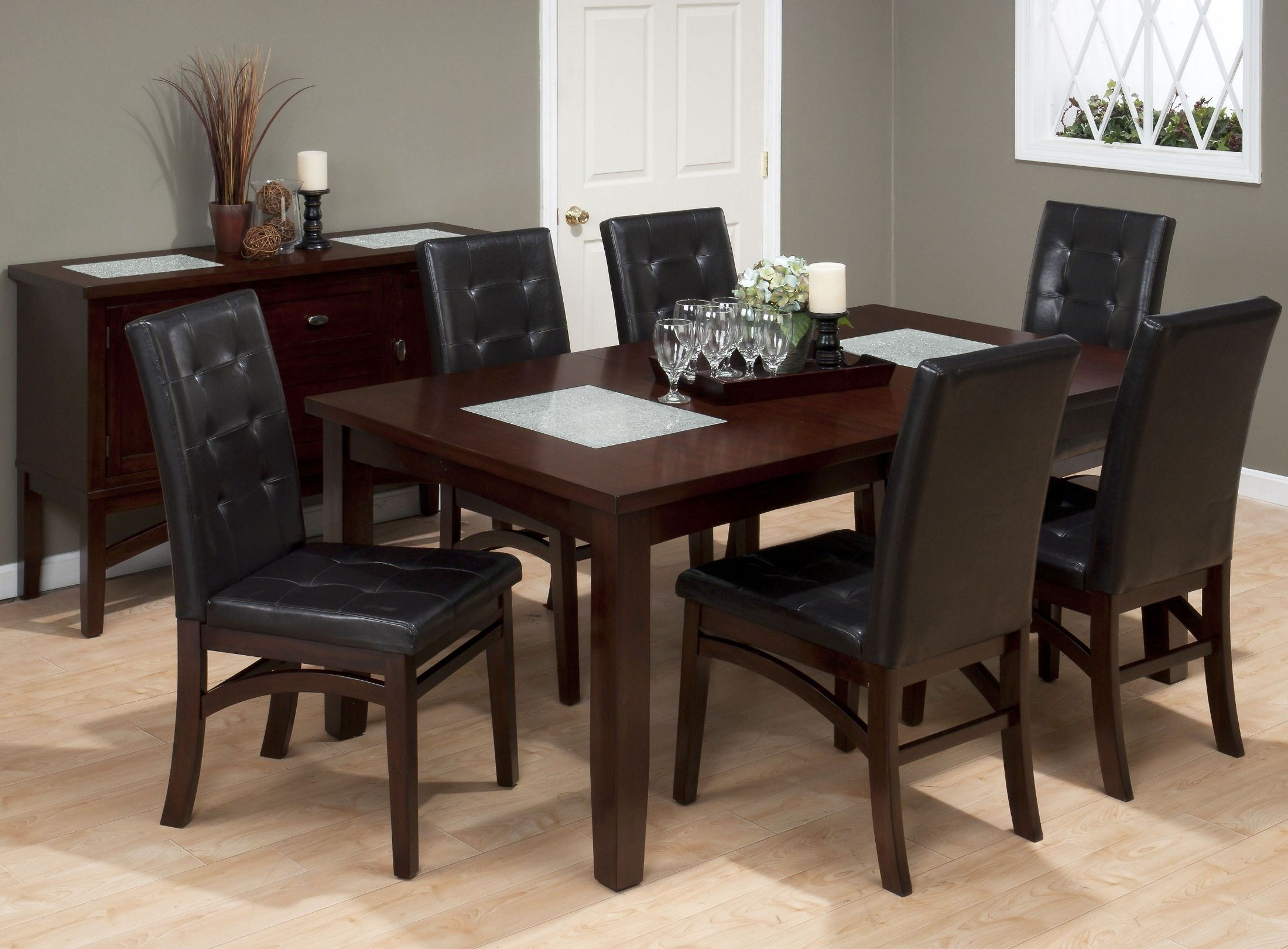 chadwick espresso crackled glass inserts extendable dining room set