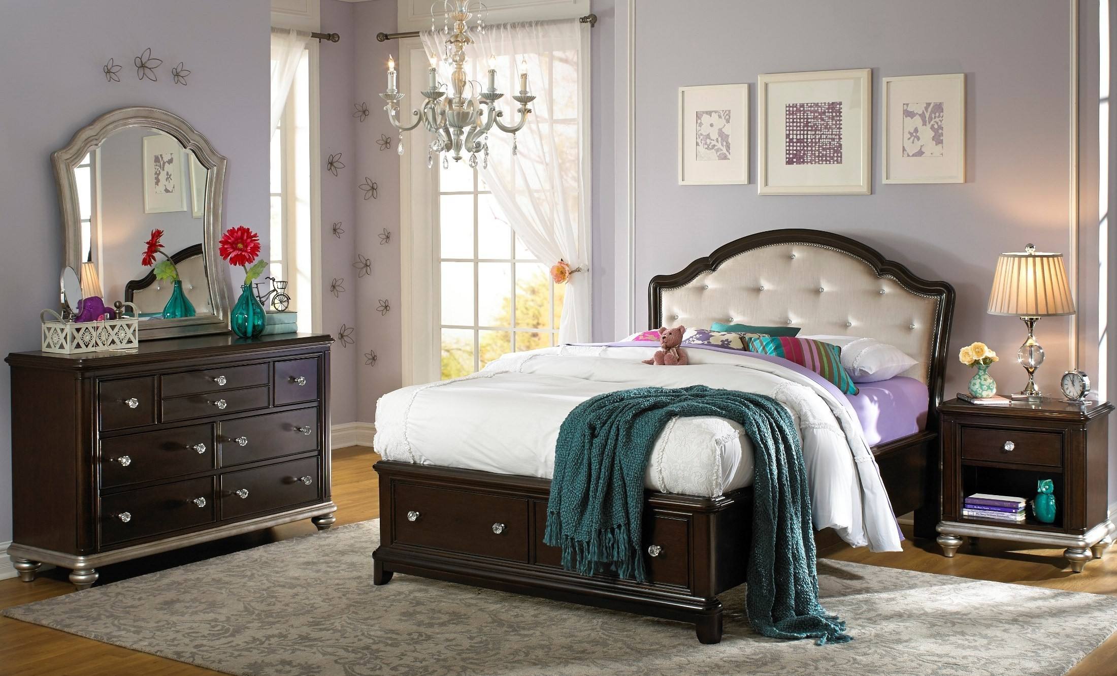 Glamour youth panel storage bedroom set from samuel lawrence 8688 530 531 411 coleman furniture for Youth storage bedroom furniture