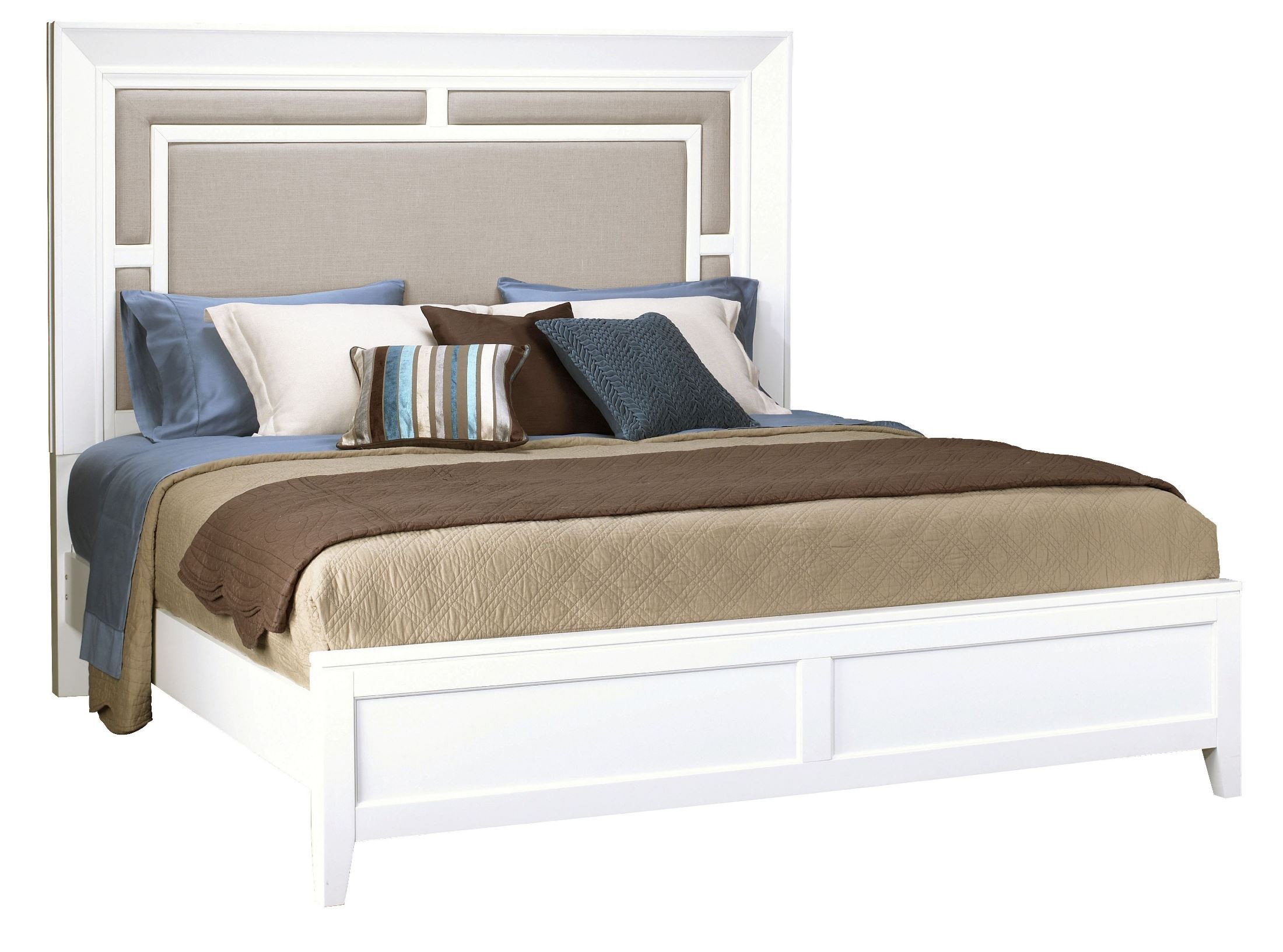 Brighton white cal king size panel bed 8673 270 271 406 for Cal king bed size