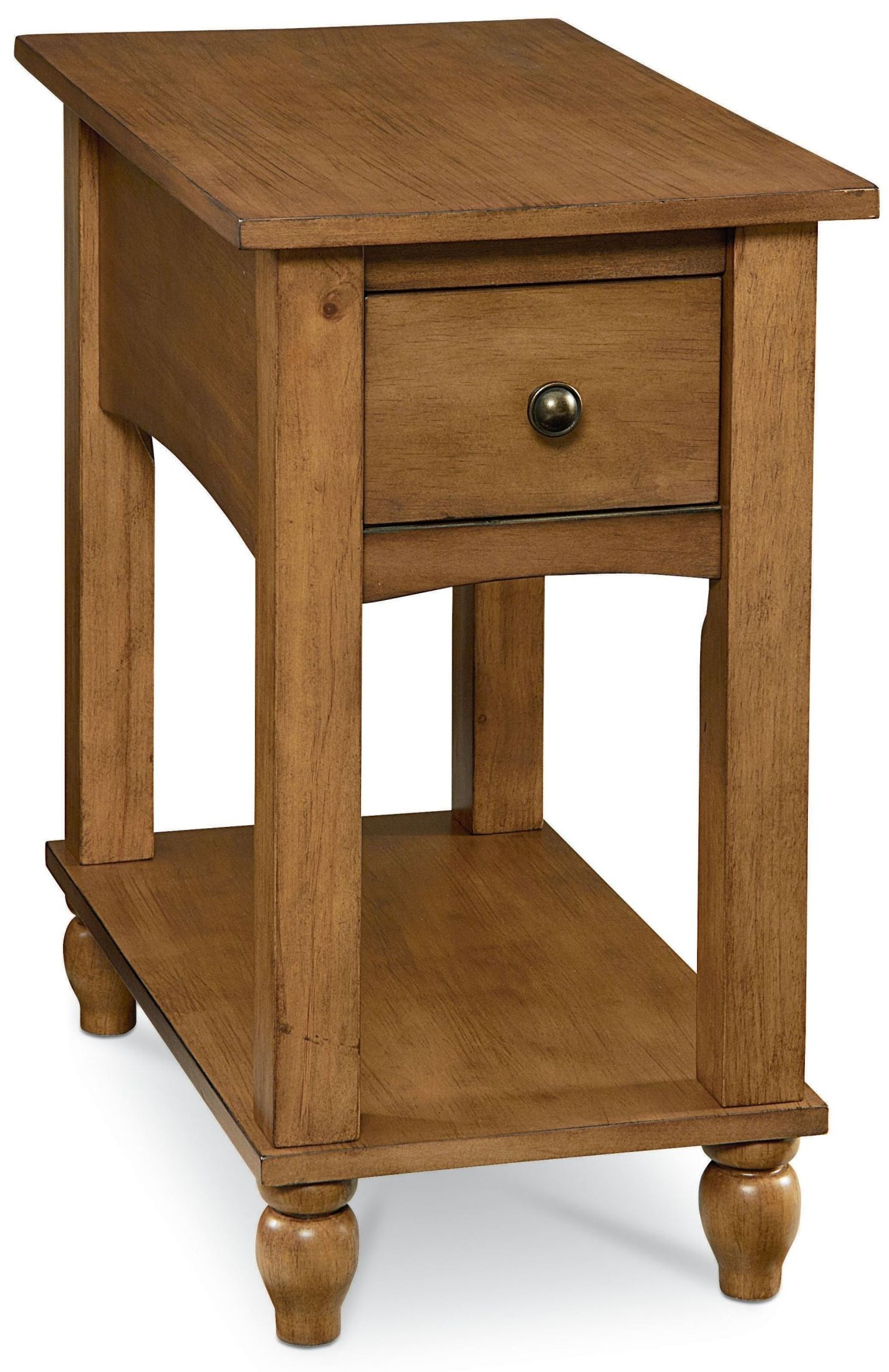 reclinermate rustic pine arlo chairside table from
