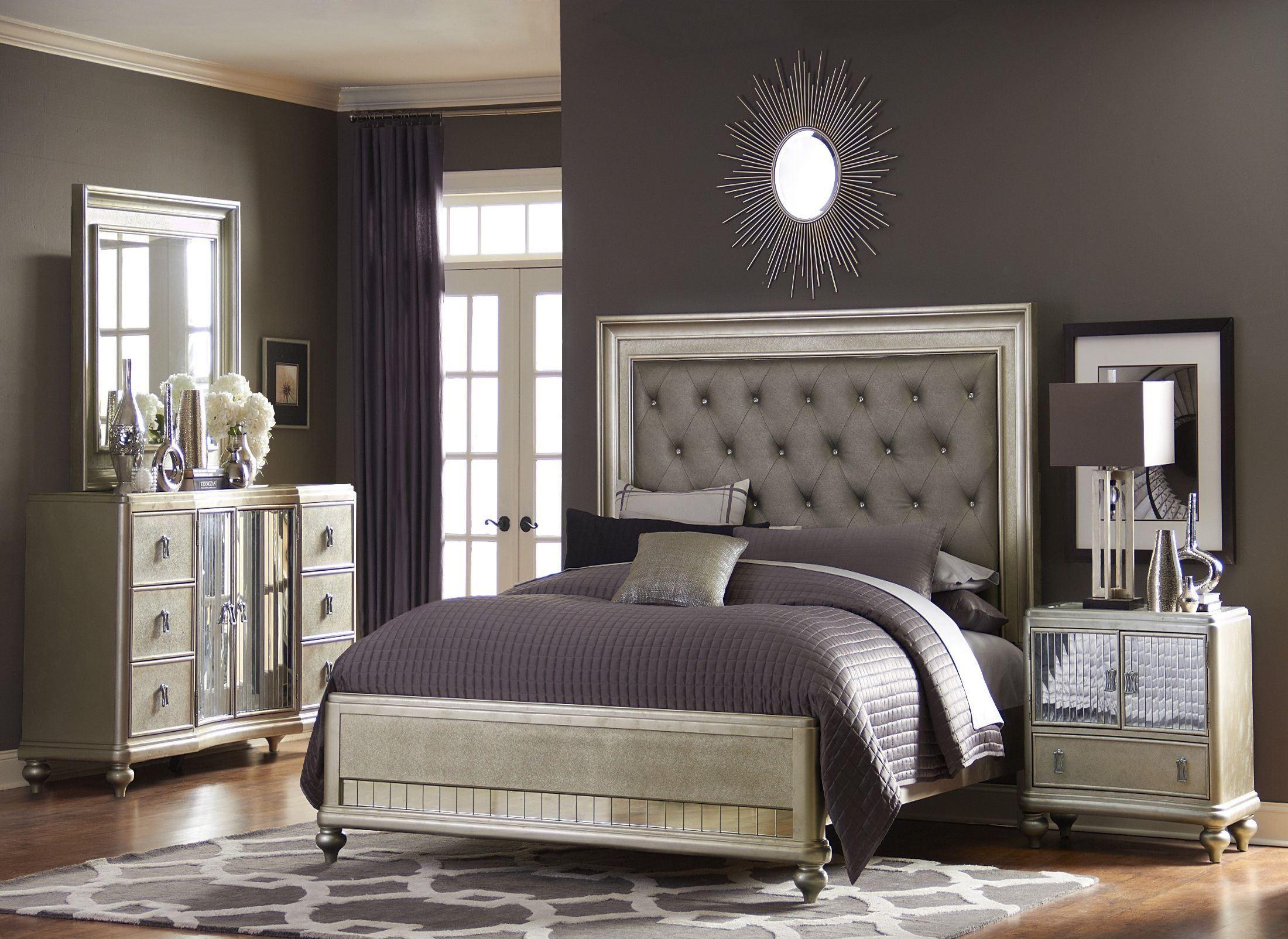 Platinum platform bedroom set from samuel lawrence 8710 for Platform bedroom sets
